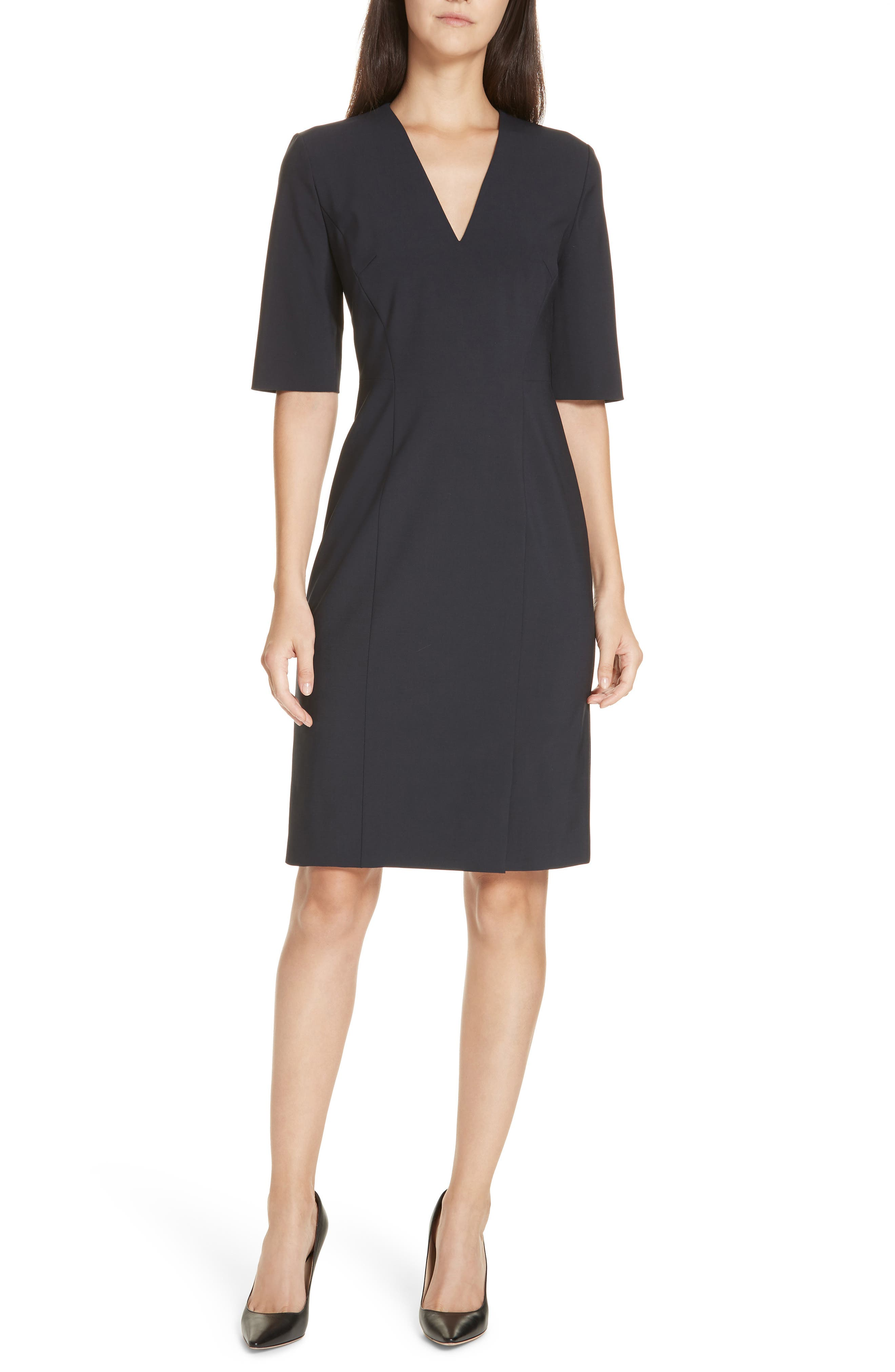 Boss Daleno Stretch Wool Sheath Dress