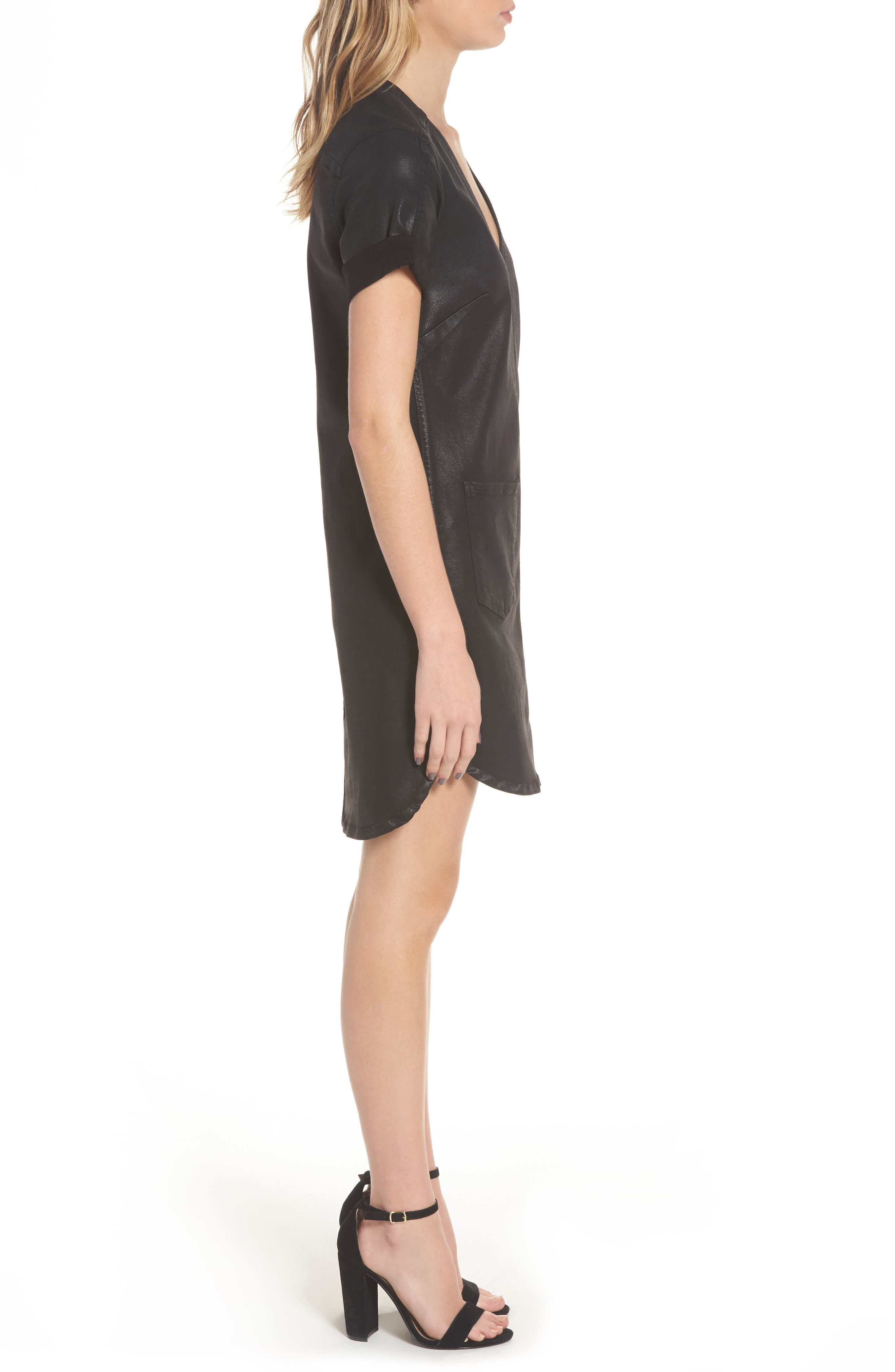 Coated Shift Dress,                             Alternate thumbnail 3, color,                             004