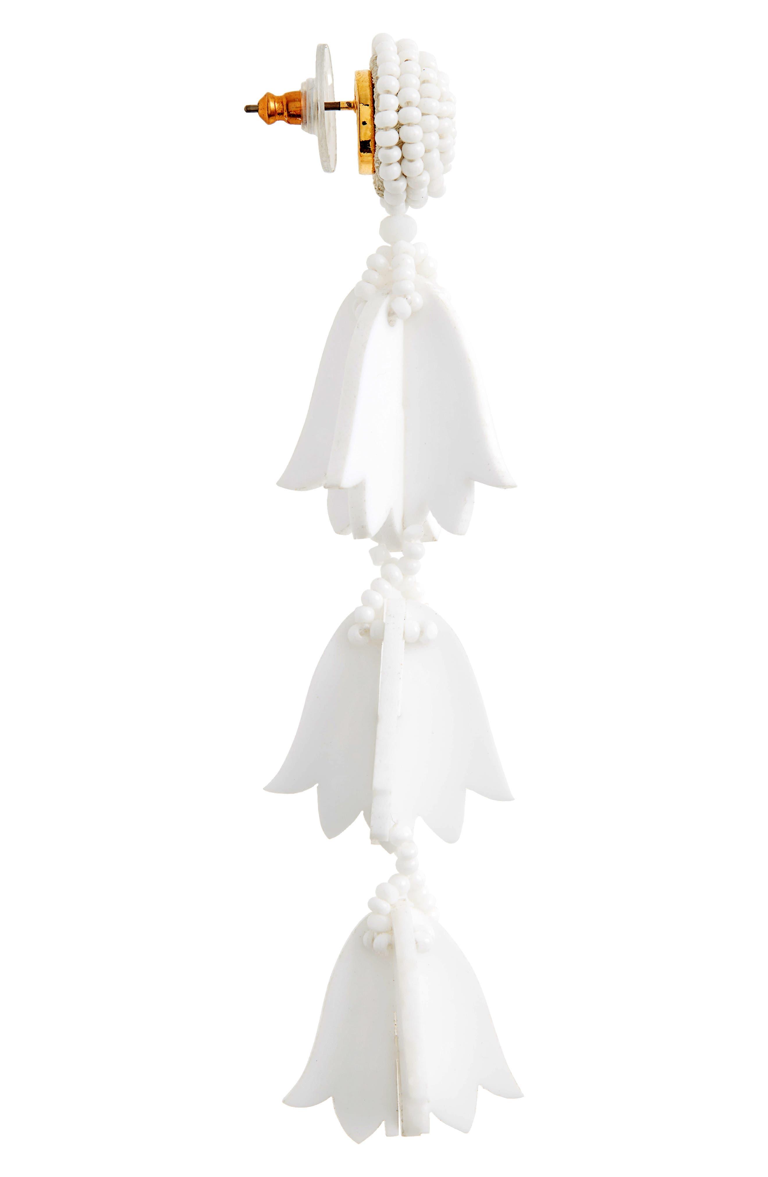 Runway Bellflower Drop Earrings,                             Alternate thumbnail 4, color,                             WHITE