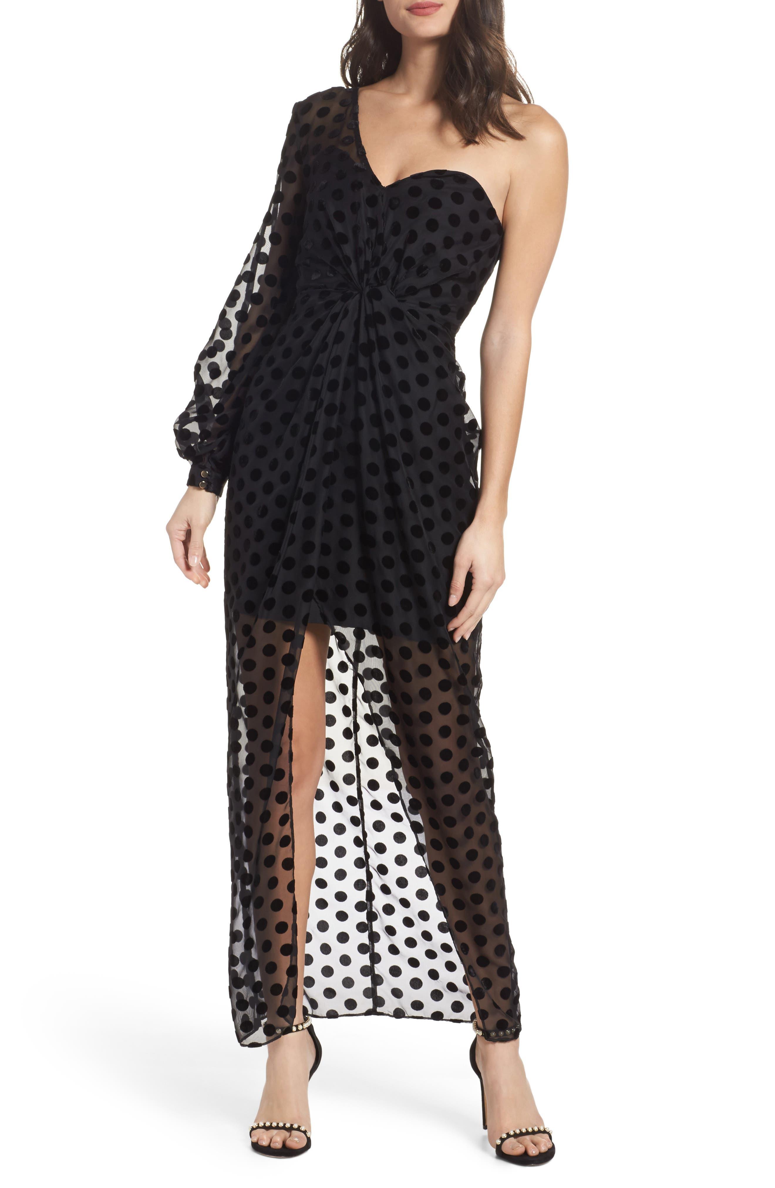 Exhale One Shoulder Polka Dot Dress,                         Main,                         color,