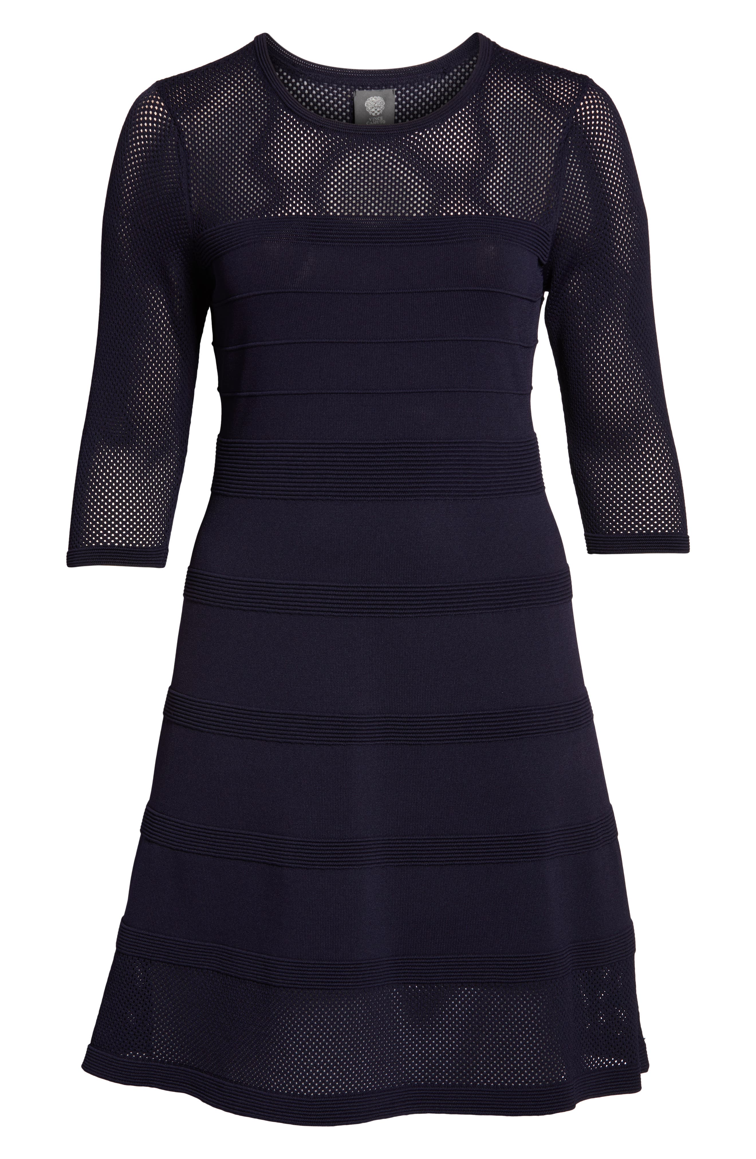 Mixed Stitch Pointelle Fit & Flare Dress,                             Alternate thumbnail 7, color,                             NAVY