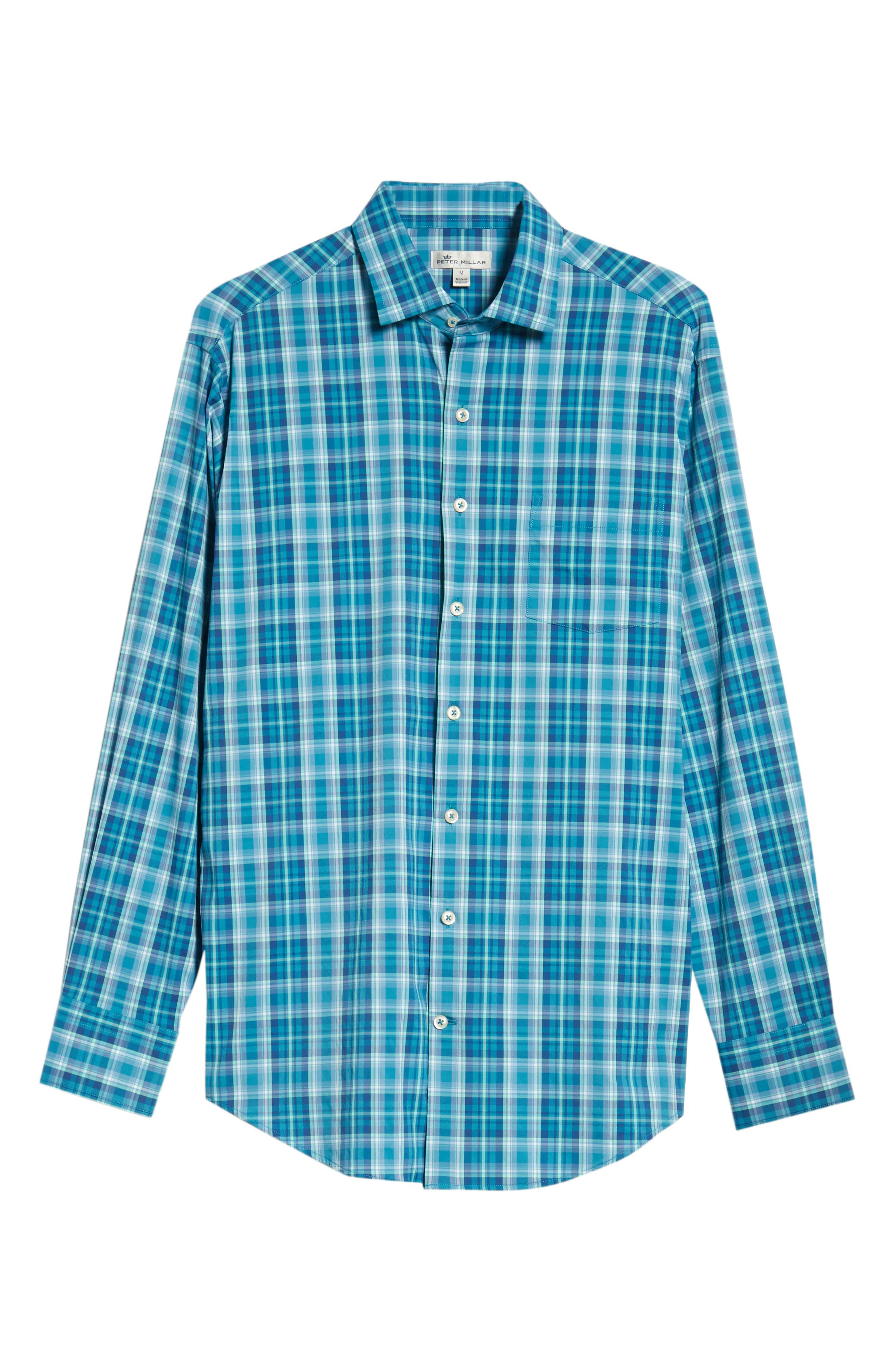 Van Regular Fit Check Performance Sport Shirt,                             Alternate thumbnail 5, color,                             BLUE