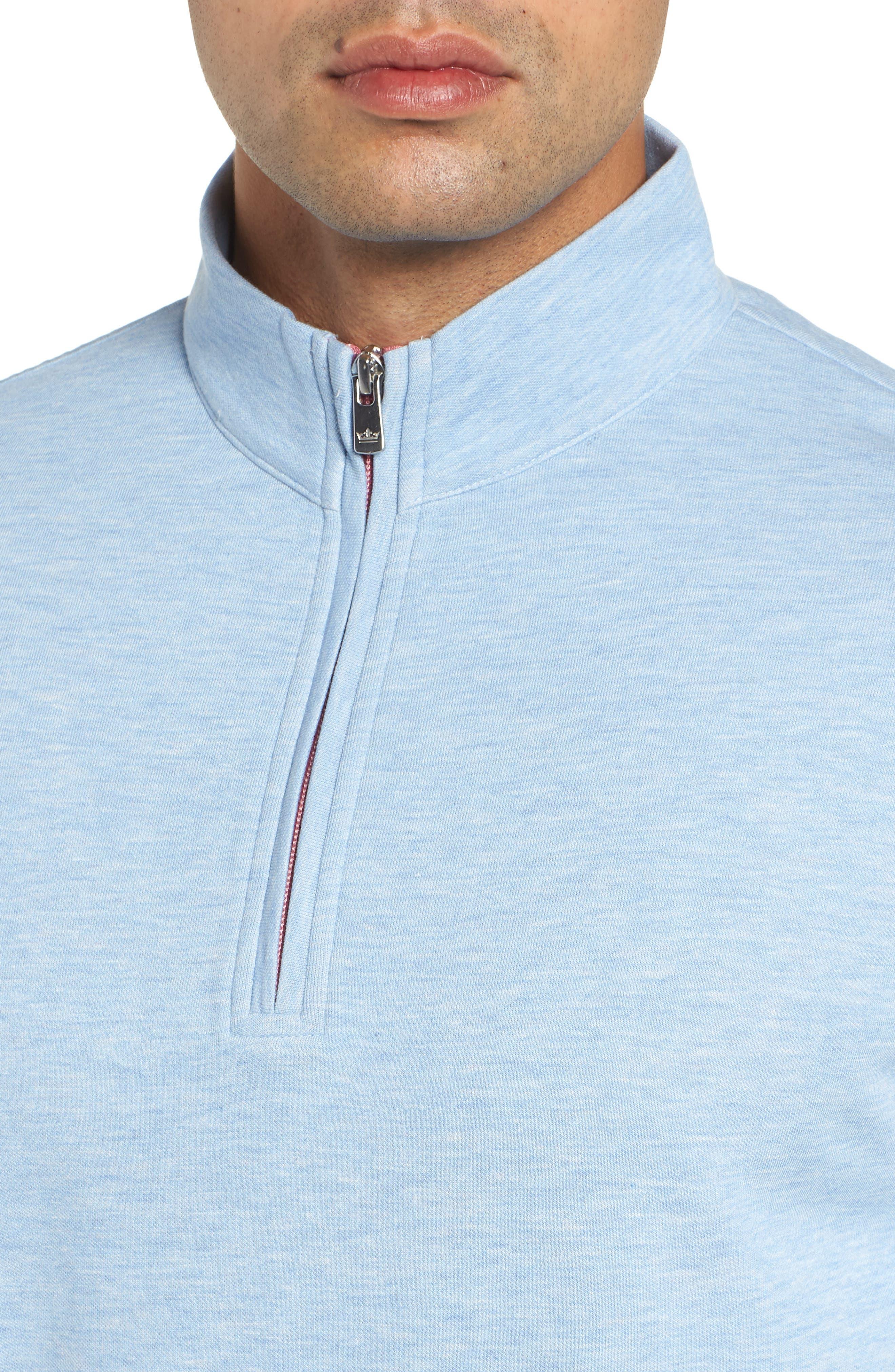 Crown Comfort Jersey Quarter Zip Pullover,                             Alternate thumbnail 4, color,                             COTTAGE BLUE