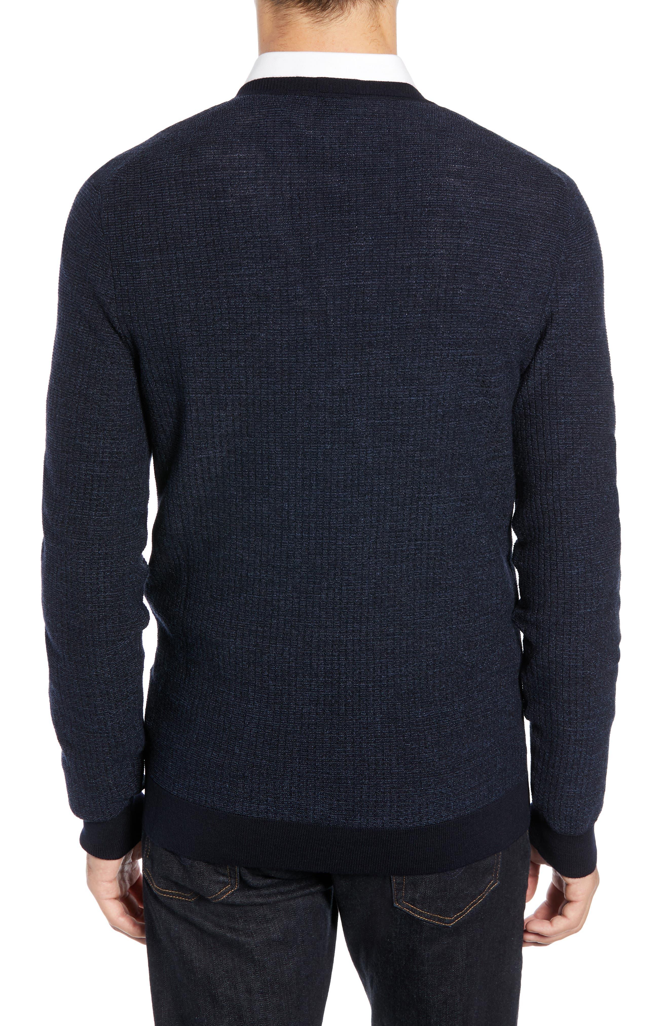 Emauro Mouline V-Neck Slim Fit Sweater,                             Alternate thumbnail 2, color,                             BLUE