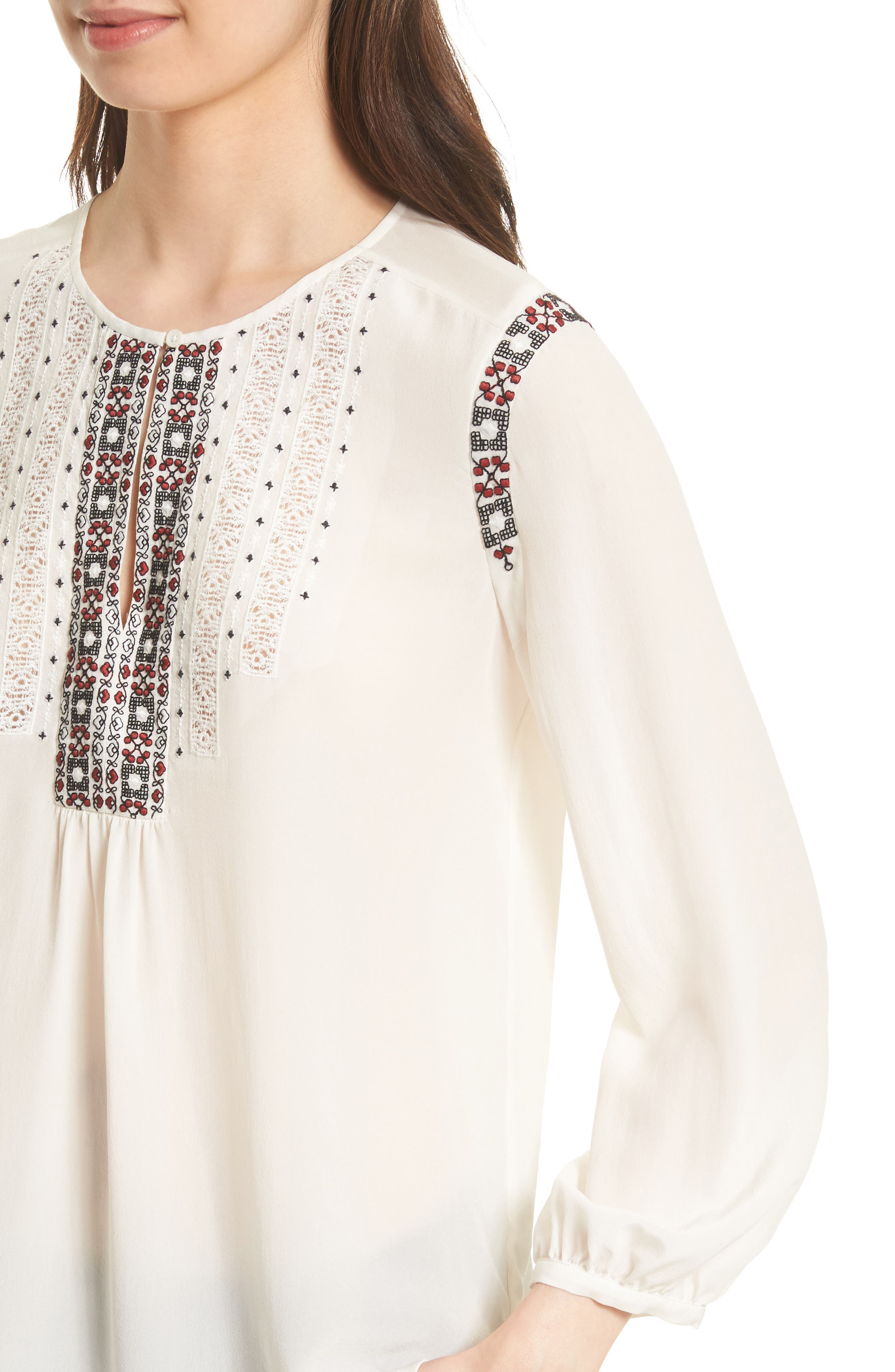 Clema Embroidered Bib Silk Top,                             Alternate thumbnail 4, color,                             114