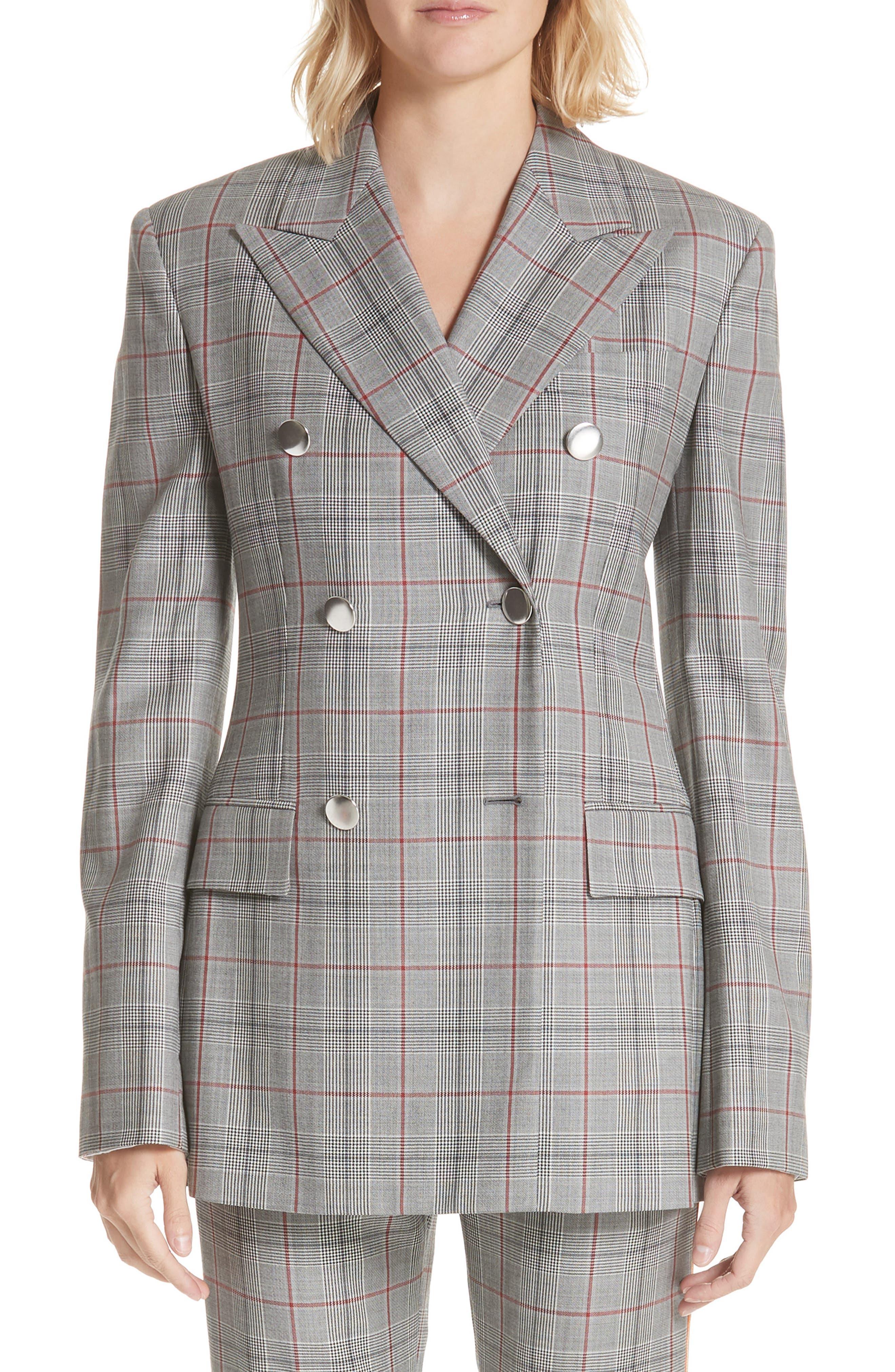 Plaid Wool Jacket,                             Main thumbnail 1, color,                             BLACK WHITE GRENADINE
