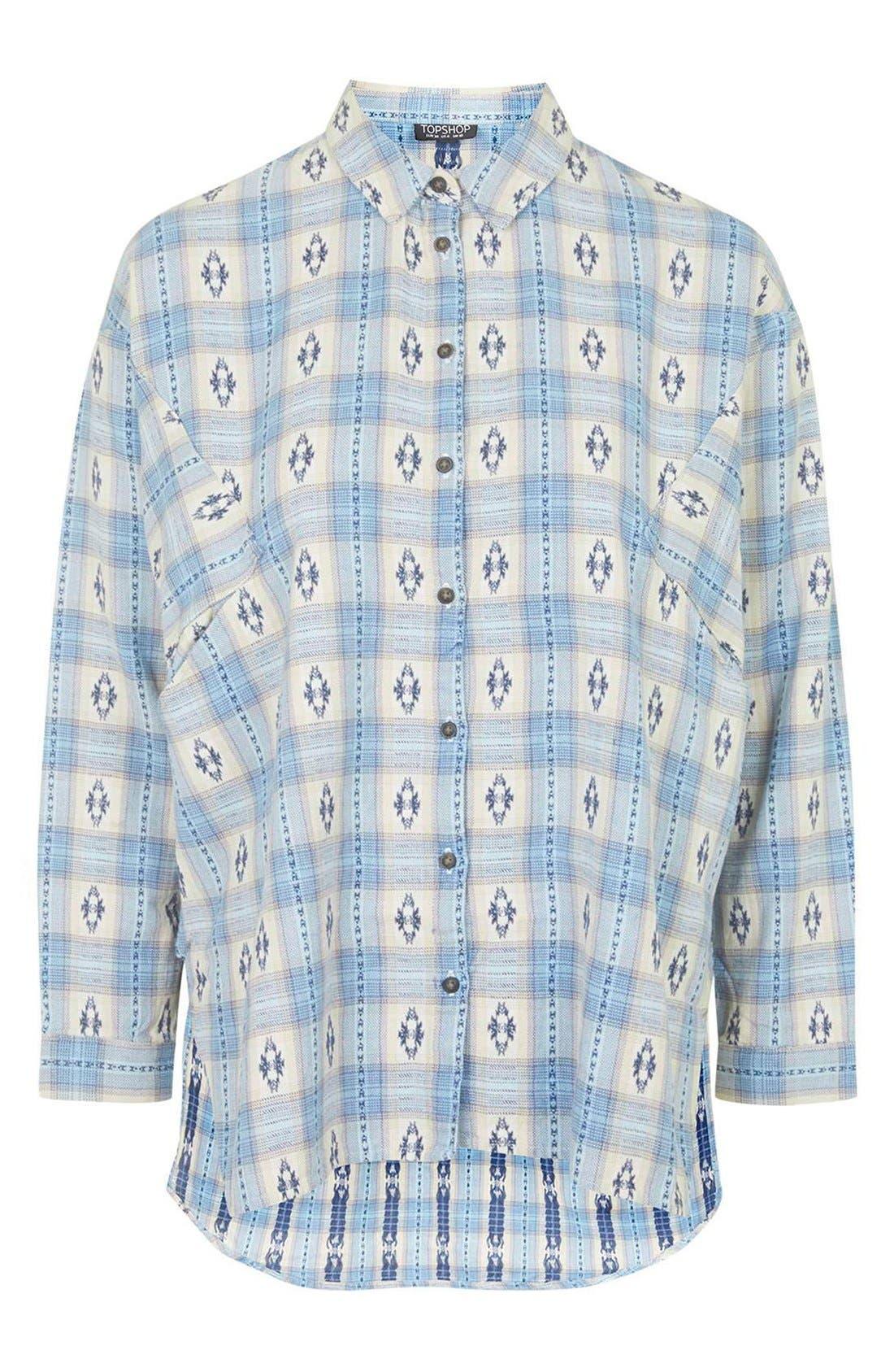 Southwestern Print Oversize Button Down Shirt,                             Alternate thumbnail 2, color,                             450