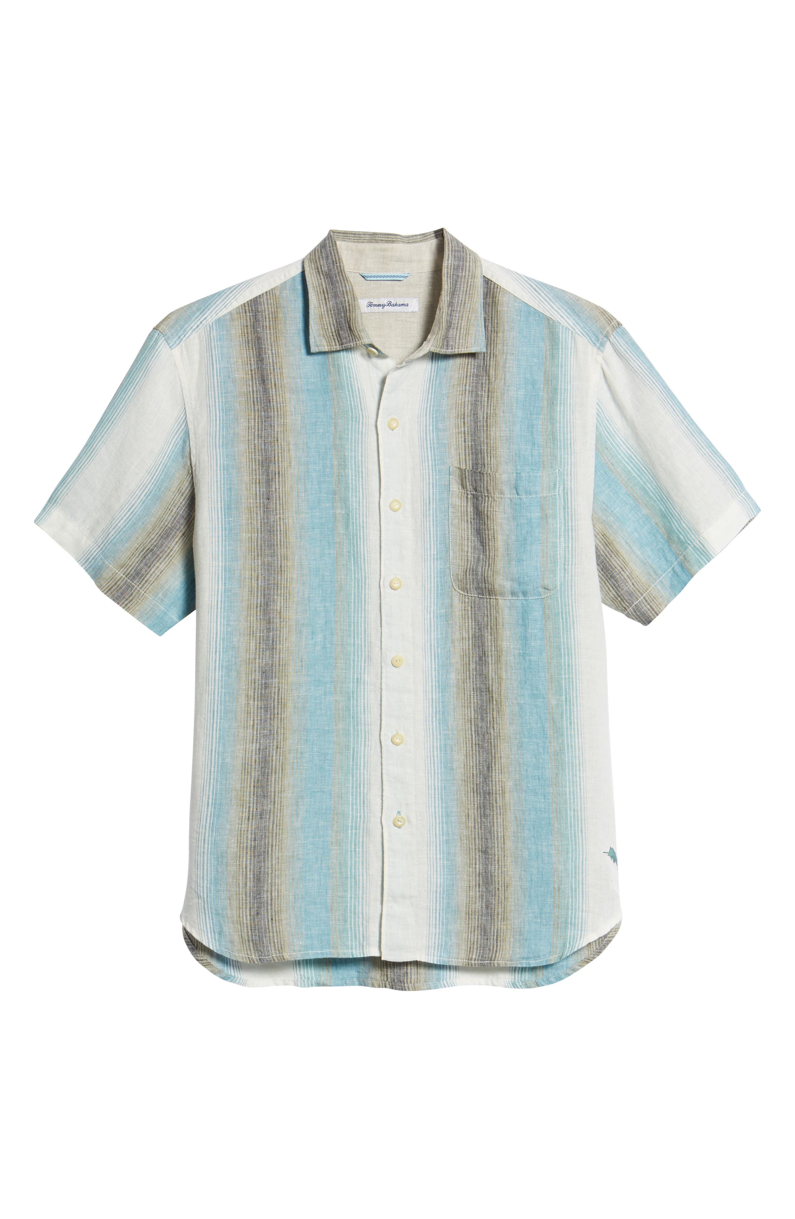 Sanchez Stripe Linen Sport Shirt,                             Alternate thumbnail 6, color,                             VOYAGER BLUE
