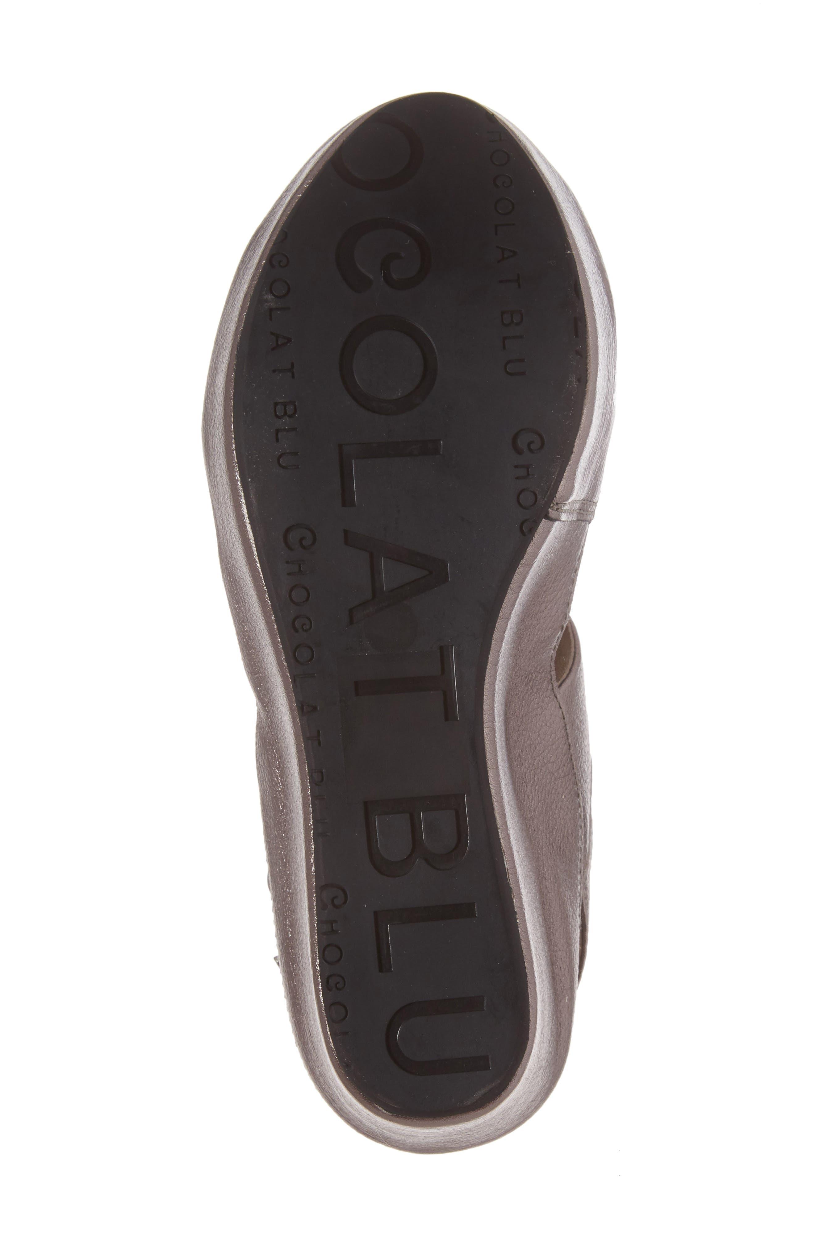 Windsor Platform Wedge Sandal,                             Alternate thumbnail 6, color,                             GUNMETAL LEATHER