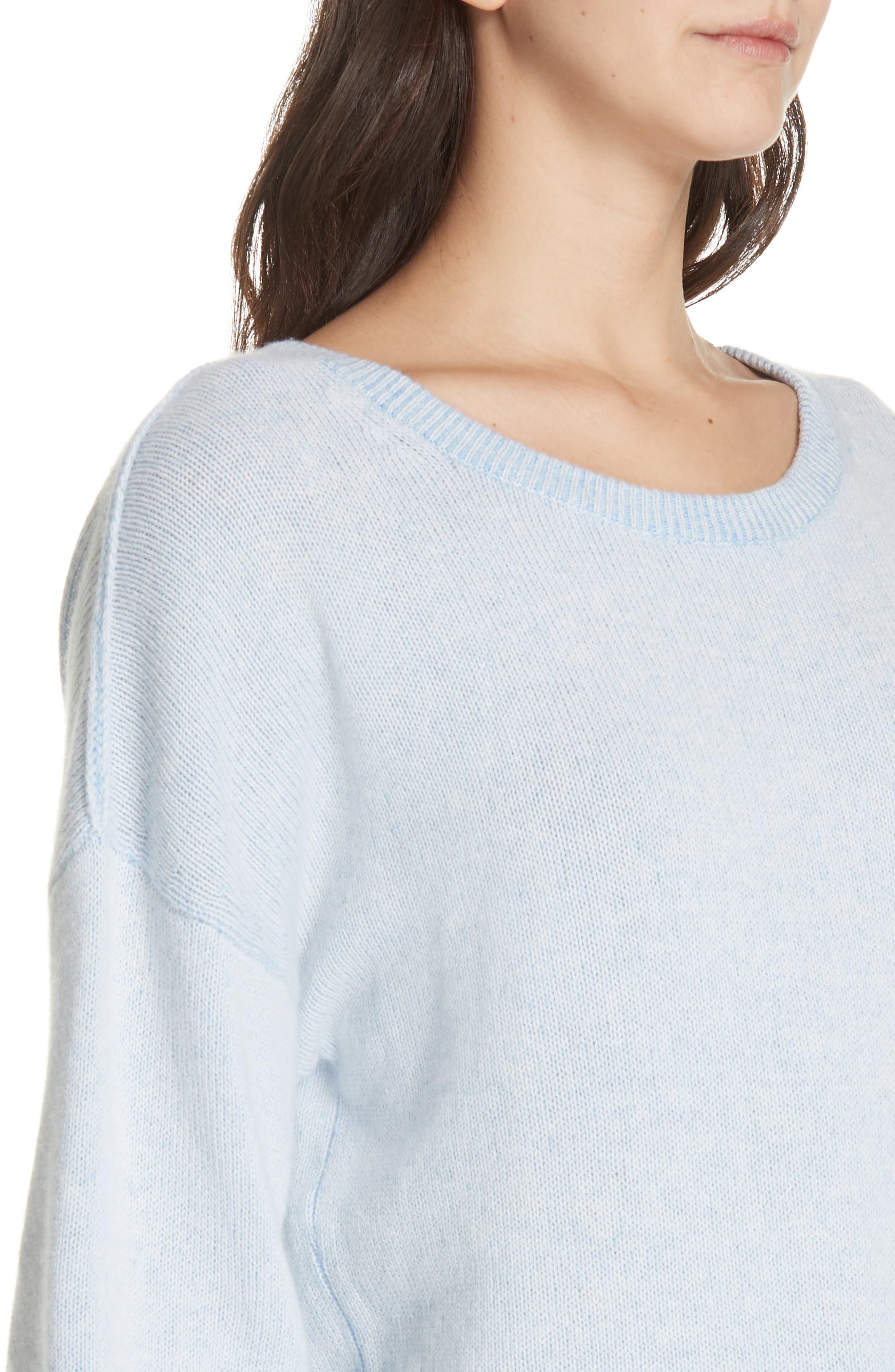 Alta Cashmere Sweater,                             Alternate thumbnail 4, color,                             SKYLAR BLUE COMBO