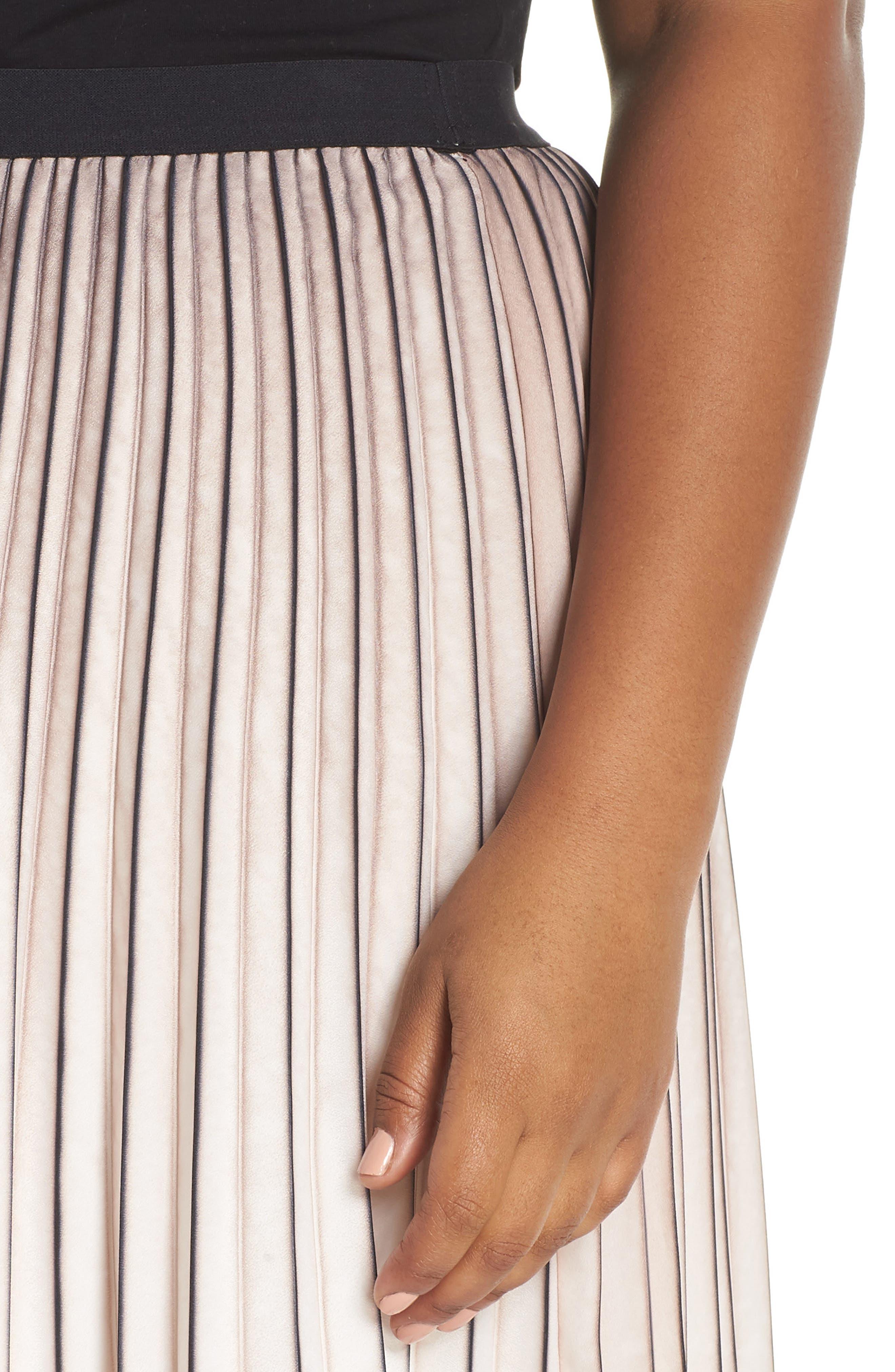 Stripe Pleat Skirt,                             Alternate thumbnail 4, color,                             MULTI