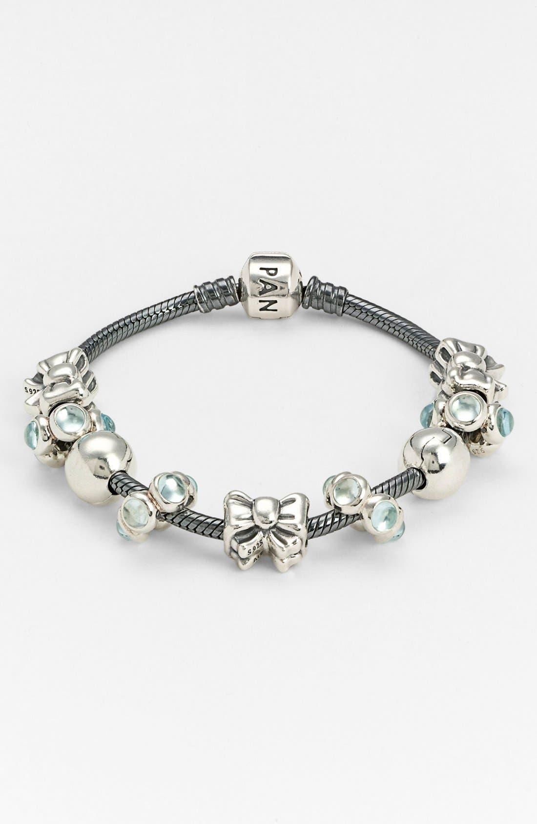 Oxidized Sterling Silver Charm Bracelet,                             Alternate thumbnail 2, color,