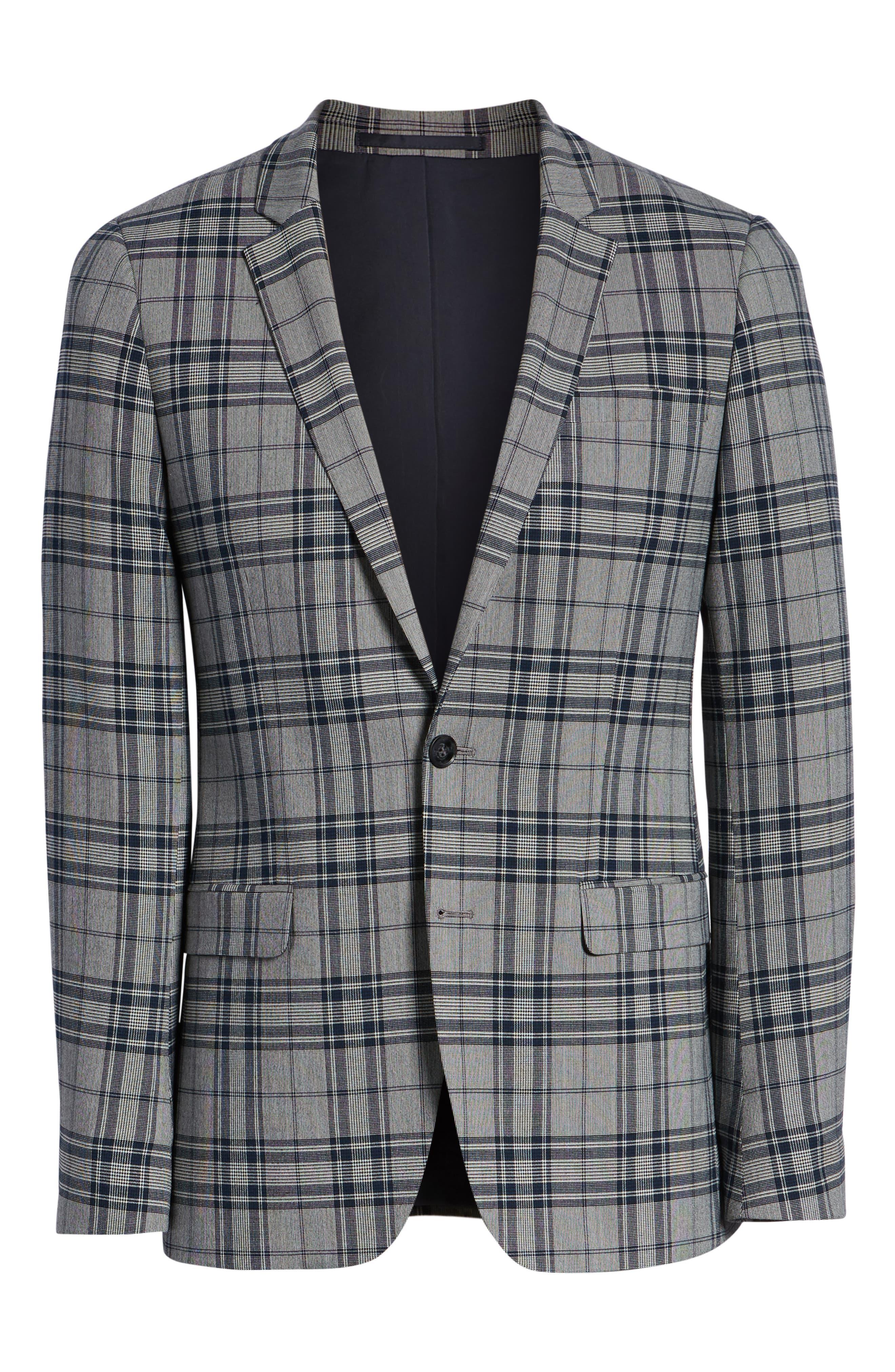 Skinny Fit Plaid Suit Jacket,                             Alternate thumbnail 5, color,                             GREY MULTI