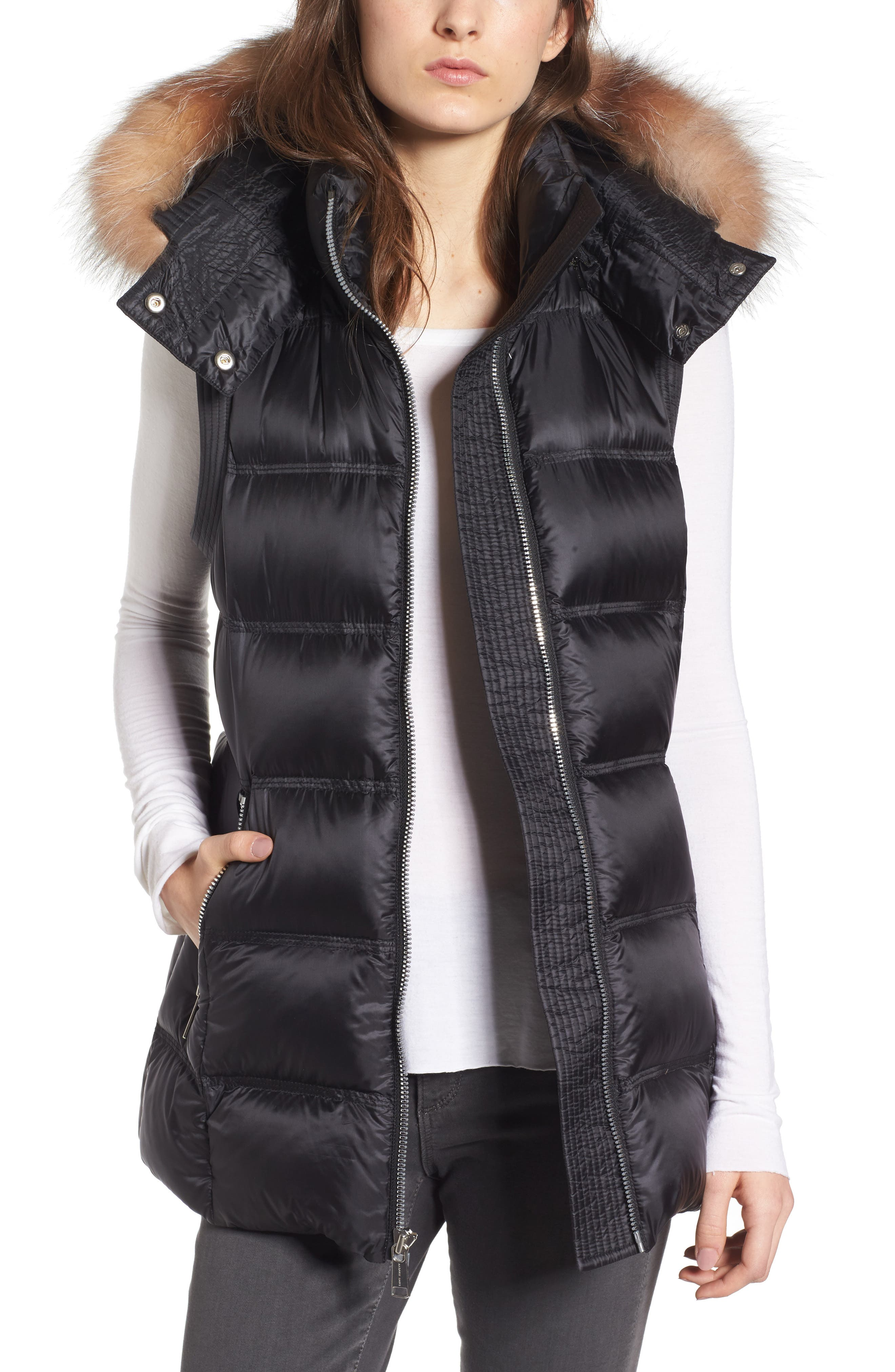 Cambridge Genuine Rabbit Fur & Leather Jacket,                             Main thumbnail 1, color,                             001