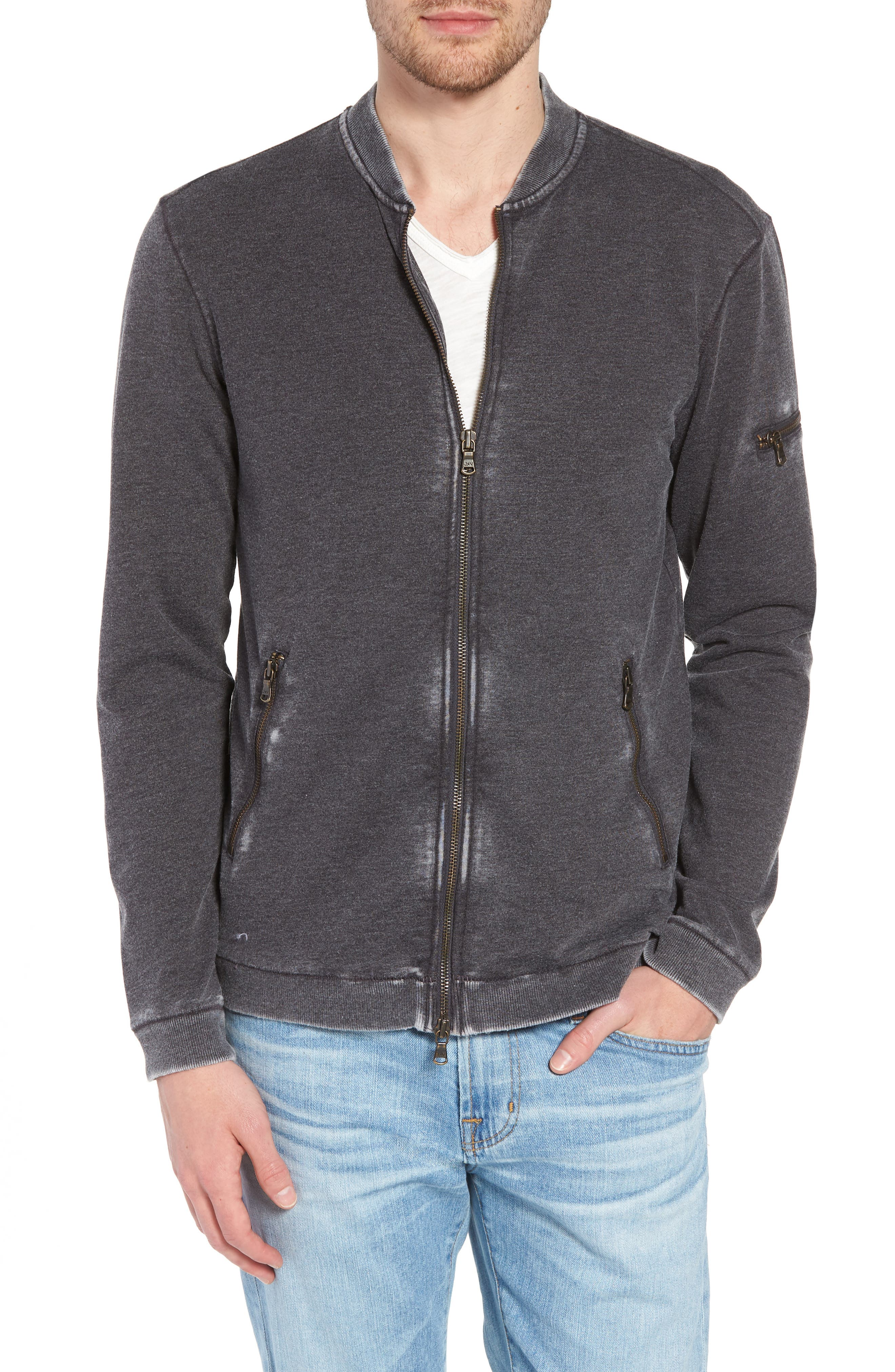 Burnout French Terry Zip Sweater,                             Alternate thumbnail 4, color,                             032