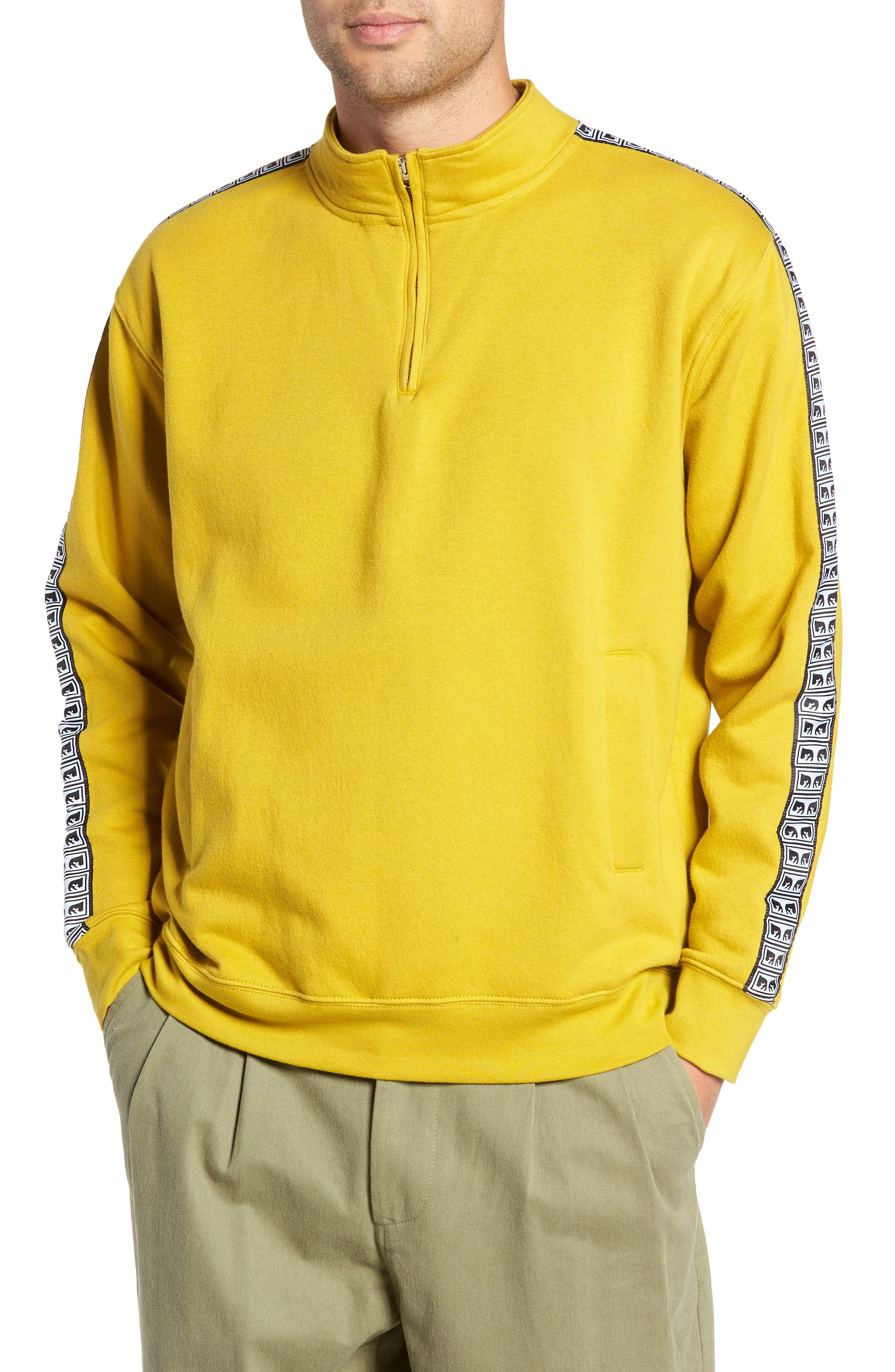 Bridges Logo Tape Quarter Zip Pullover,                             Main thumbnail 1, color,                             GOLDEN OLIVE