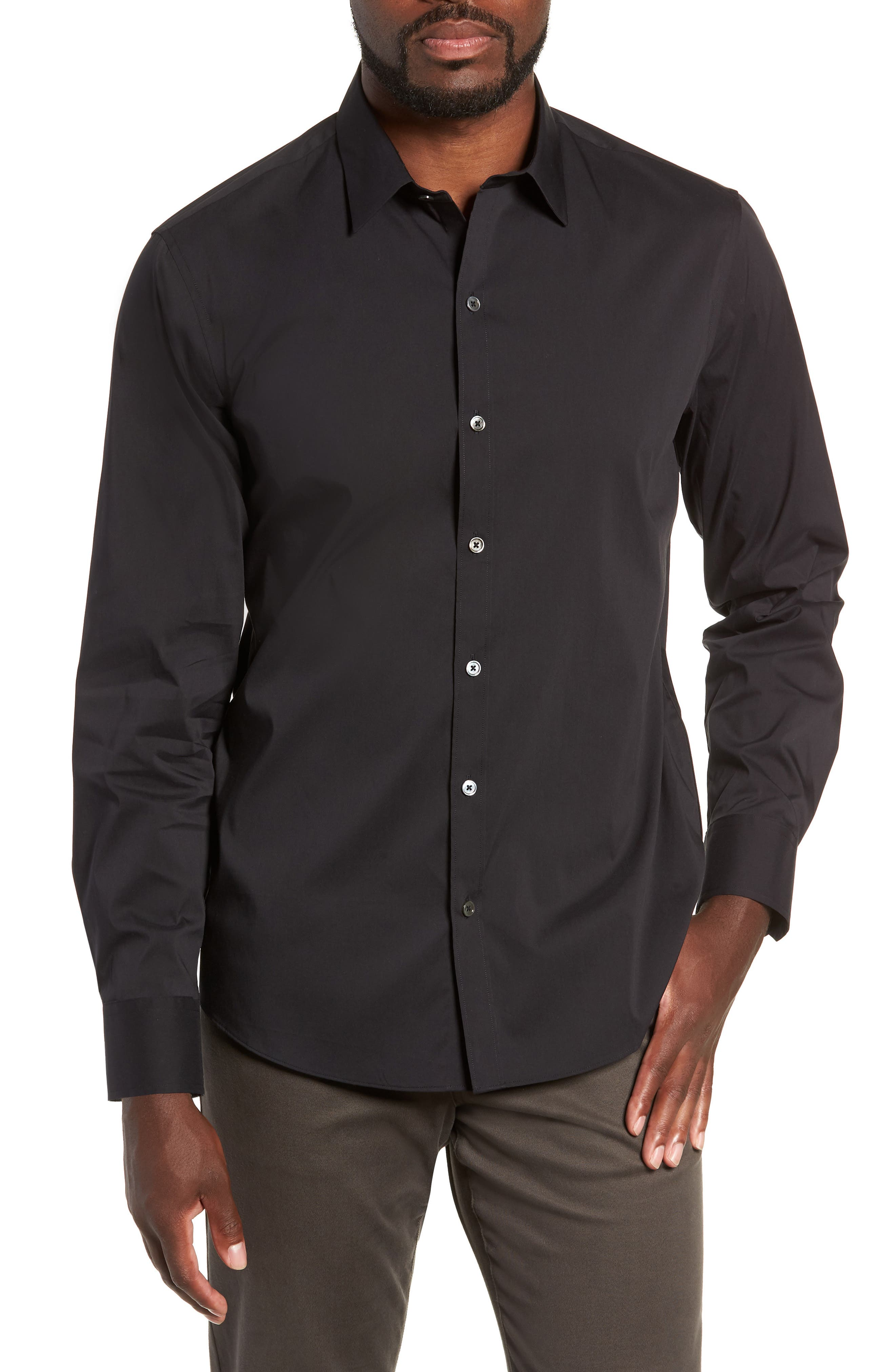 Mulberry Regular Fit Sport Shirt,                         Main,                         color, BLACK