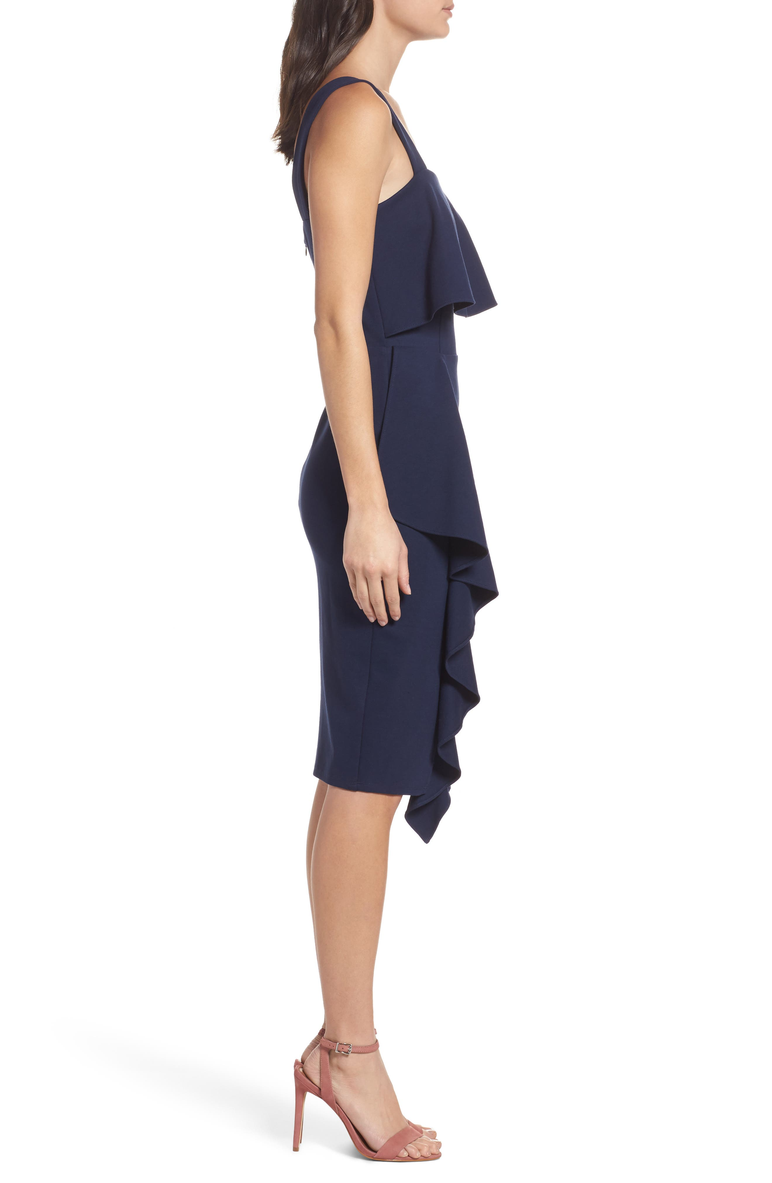 Camilla Ruffle Sheath Dress,                             Alternate thumbnail 3, color,