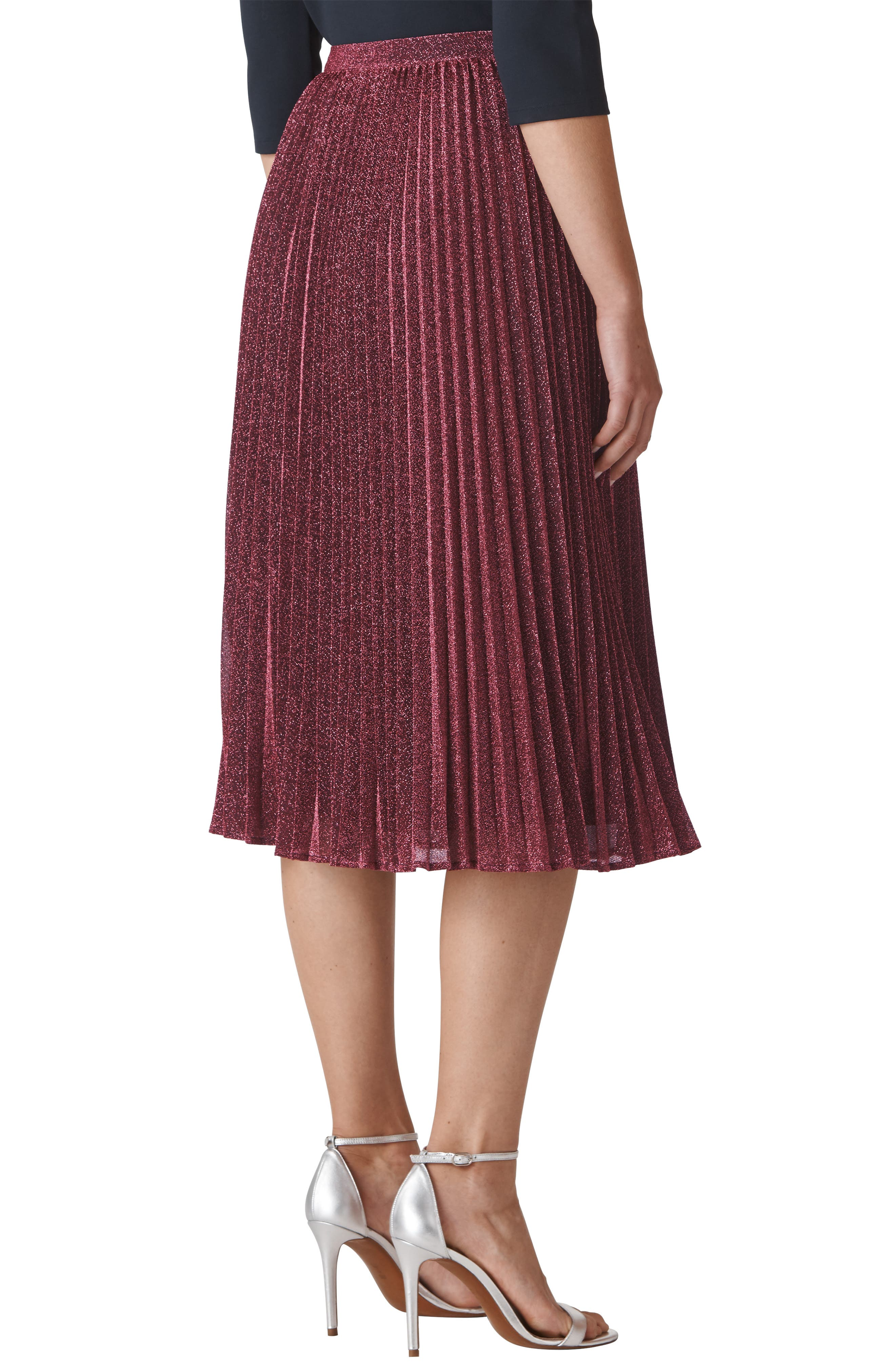 WHISTLES,                             Sparkle Pleated Skirt,                             Alternate thumbnail 2, color,                             655
