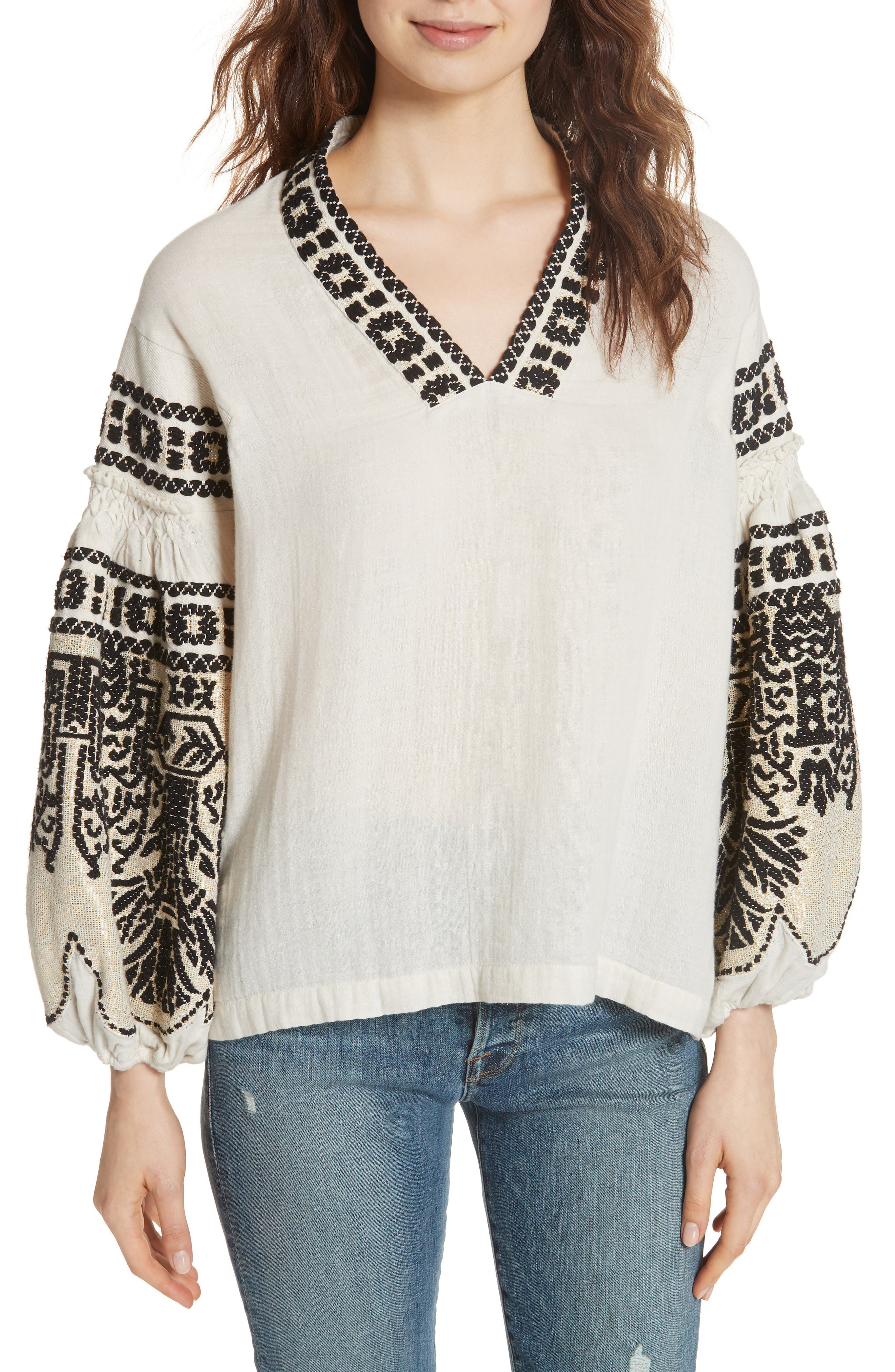 Petra Embroidered Blouse,                         Main,                         color, IVORY