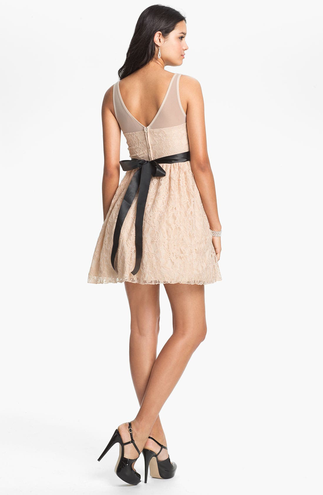 Illusion Lace Fit & Flare Dress,                             Alternate thumbnail 3, color,