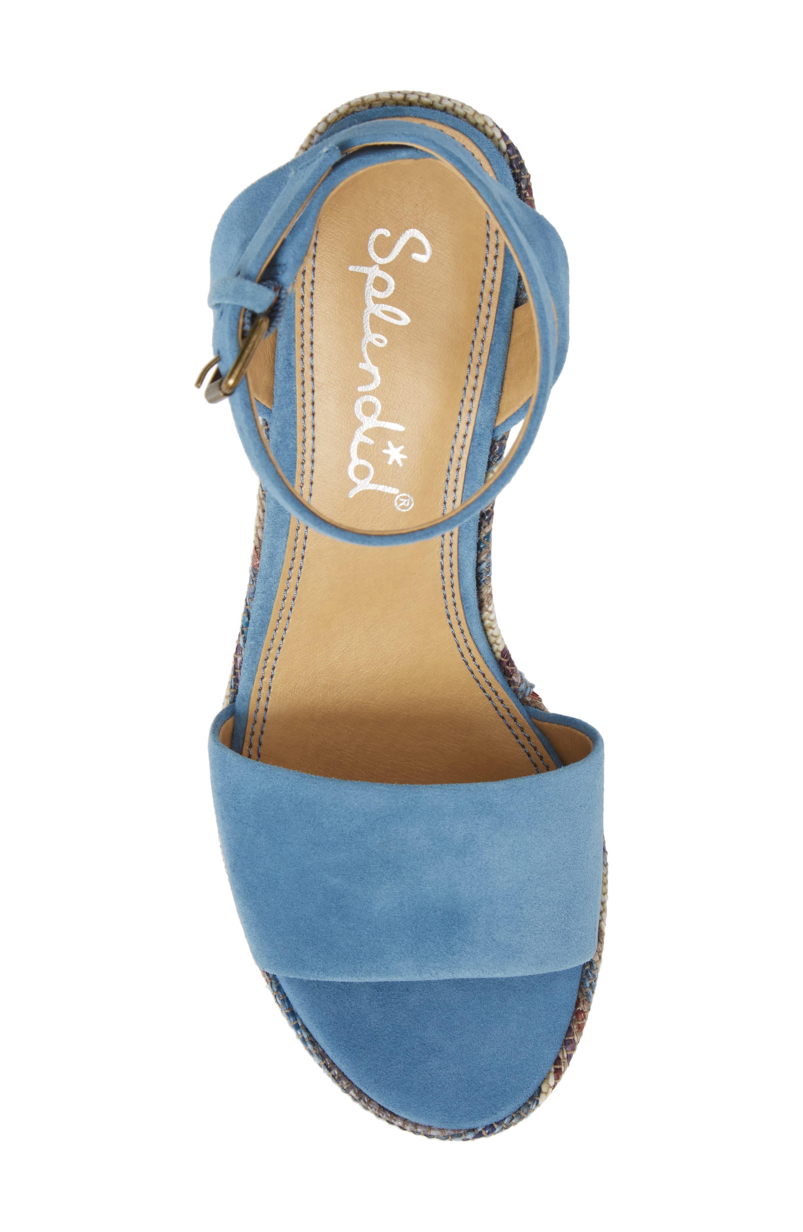 Felix Platform Wedge Sandal,                             Alternate thumbnail 5, color,                             BLUE HORIZON SUEDE