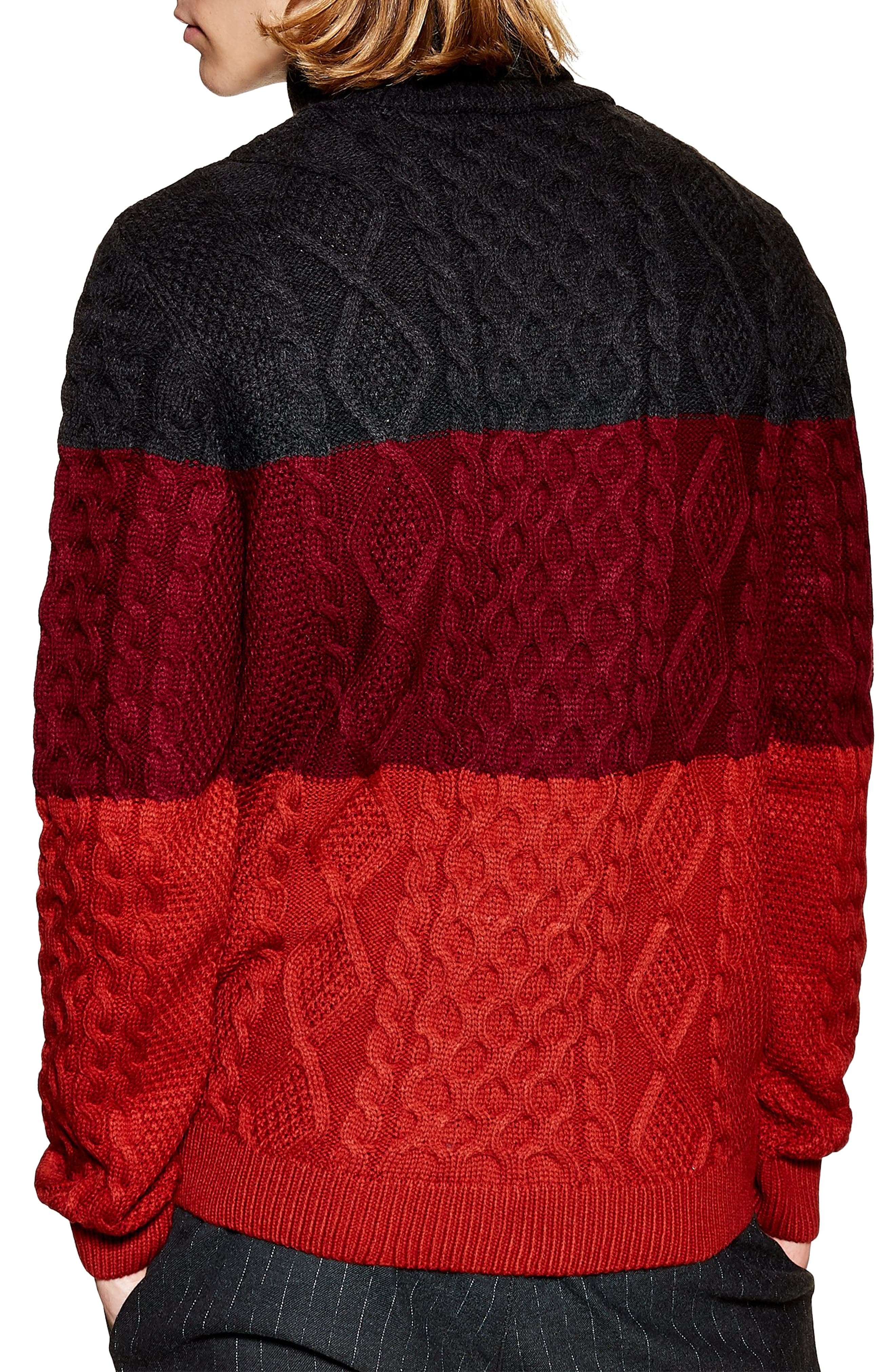 Colorblock Cable Knit Turtleneck Sweater,                             Alternate thumbnail 2, color,                             RED MULTI