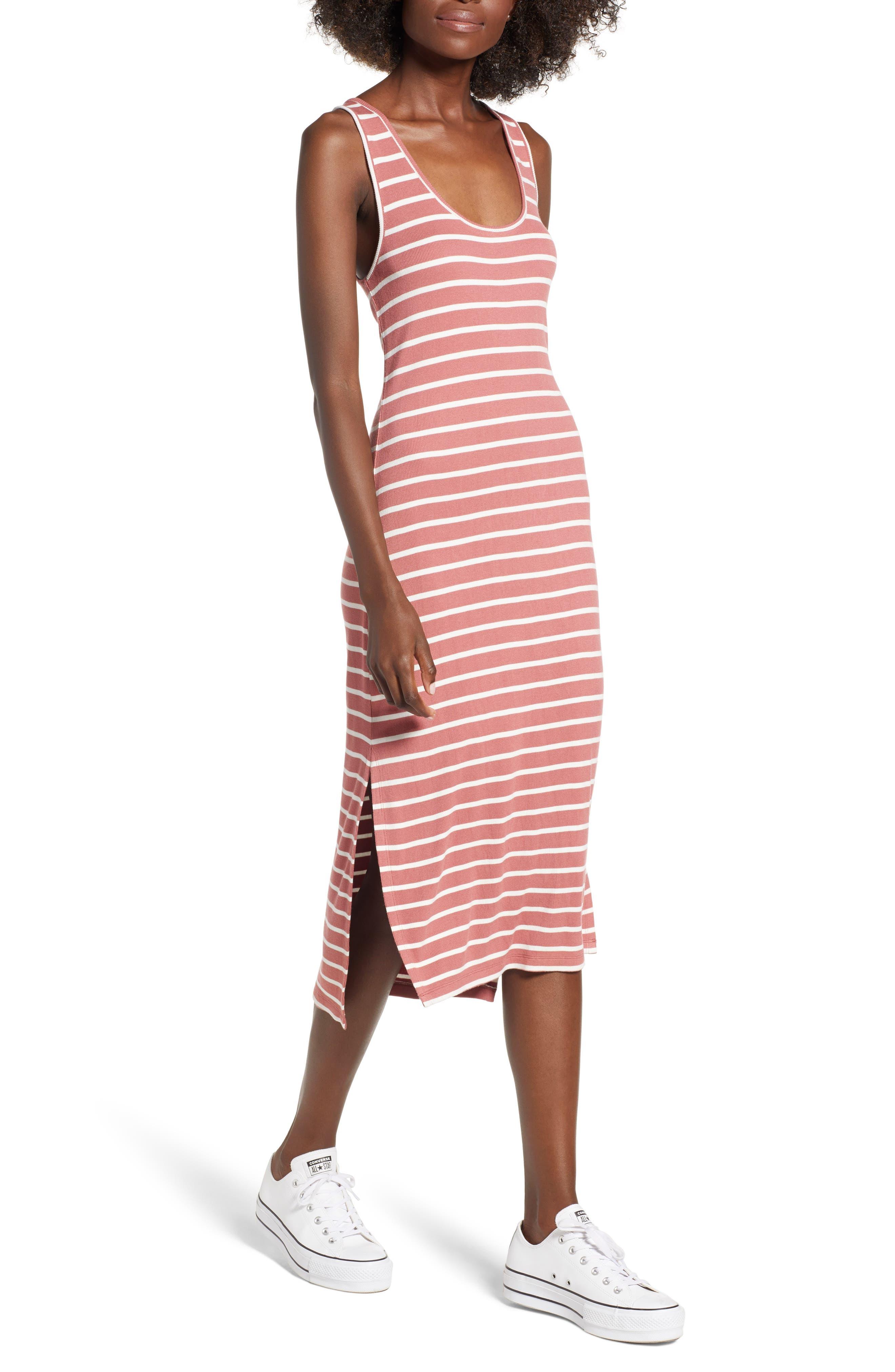 Rip Curl Essentials Stripe Midi Dress, Pink
