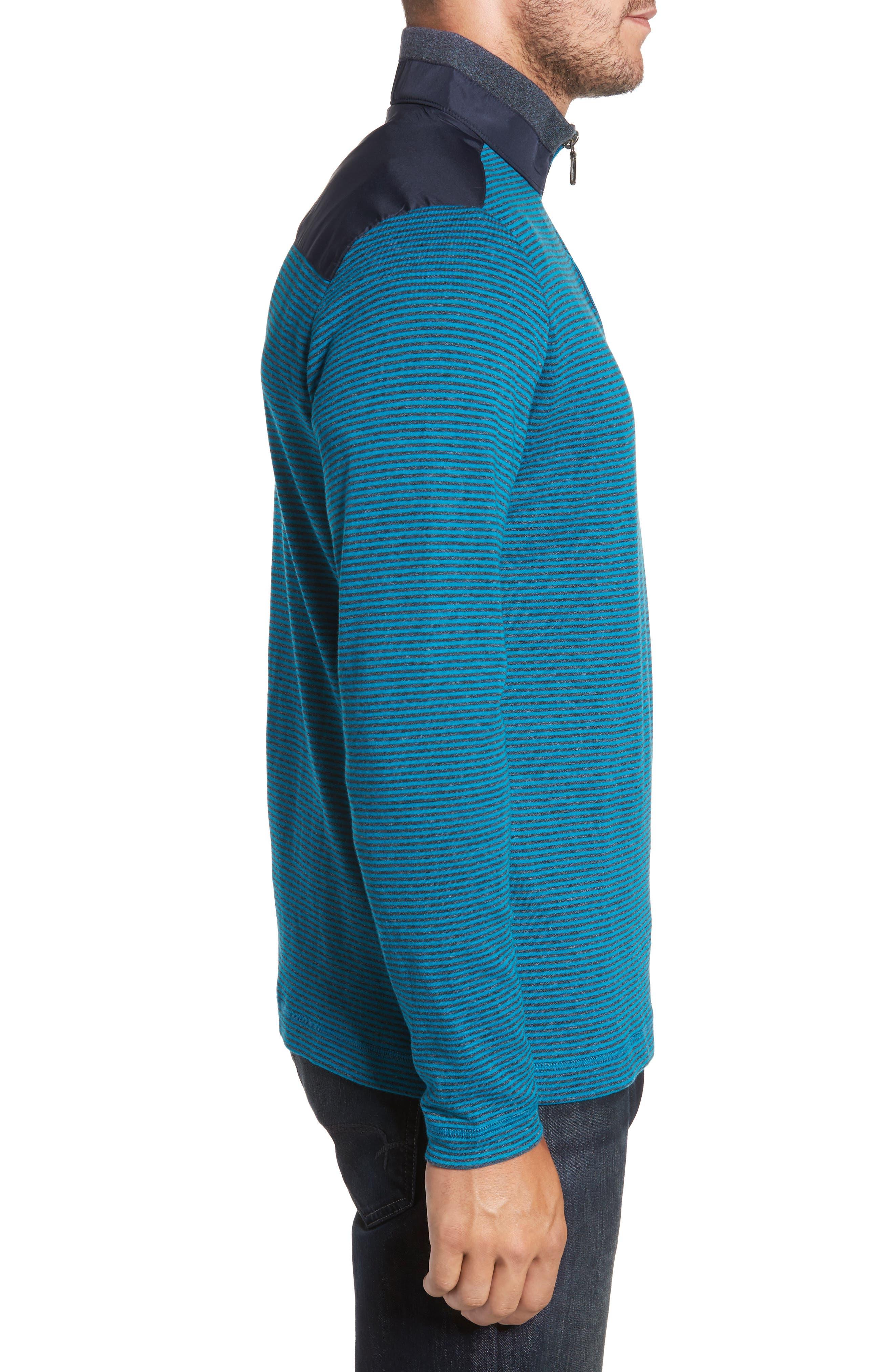 Classic Fit Striped Quarter Zip Pullover,                             Alternate thumbnail 3, color,                             445