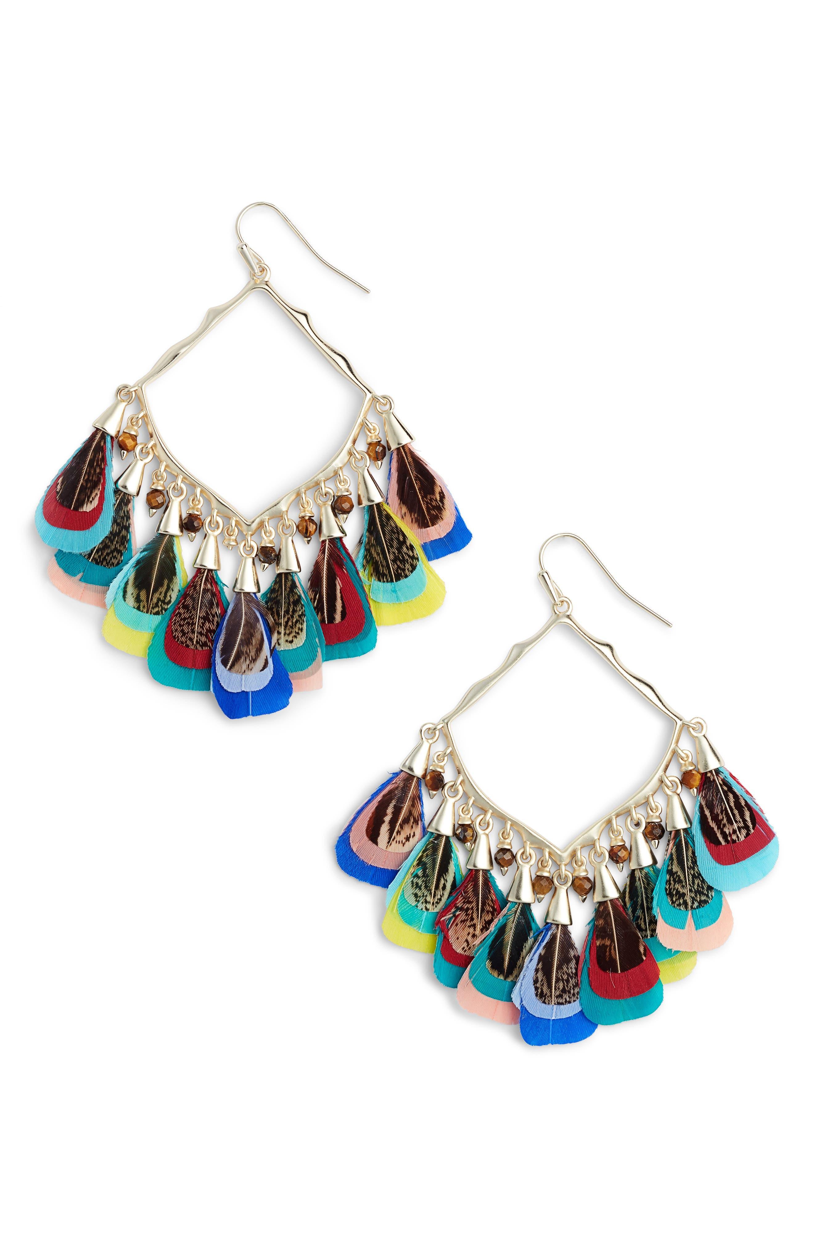 Raven Earrings,                         Main,                         color, MULTI FTHR/ BEAD MIX/ GOLD