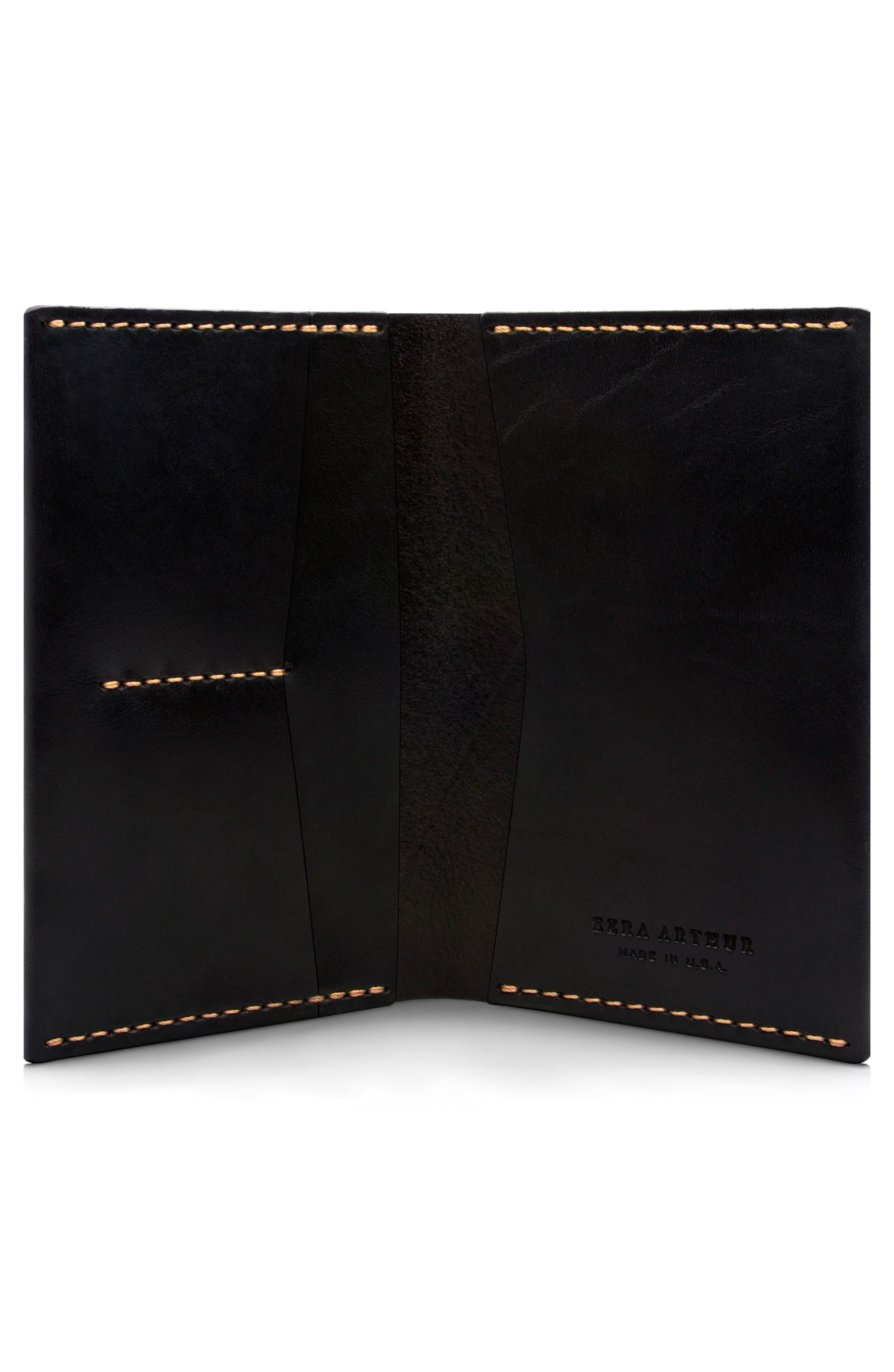 Leather Passport Wallet,                             Alternate thumbnail 2, color,                             JET TOP STITCH