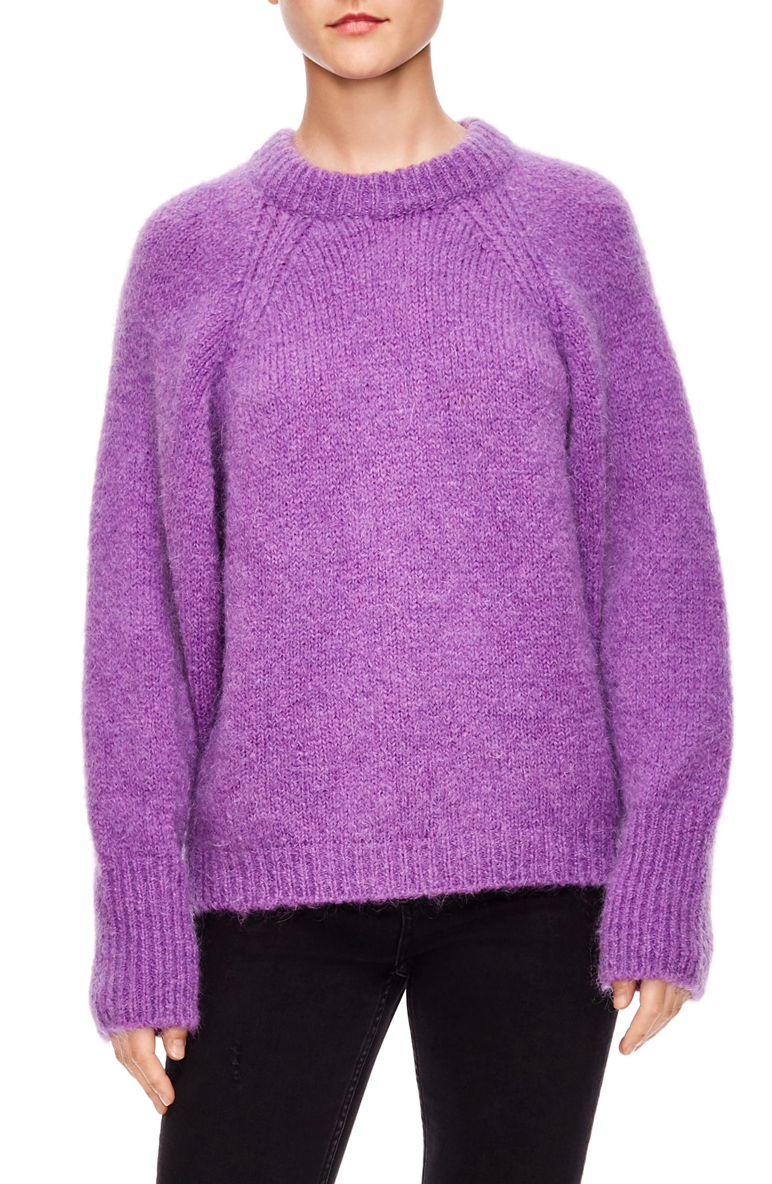 Mohair Blend Oversize Sweater in Violet