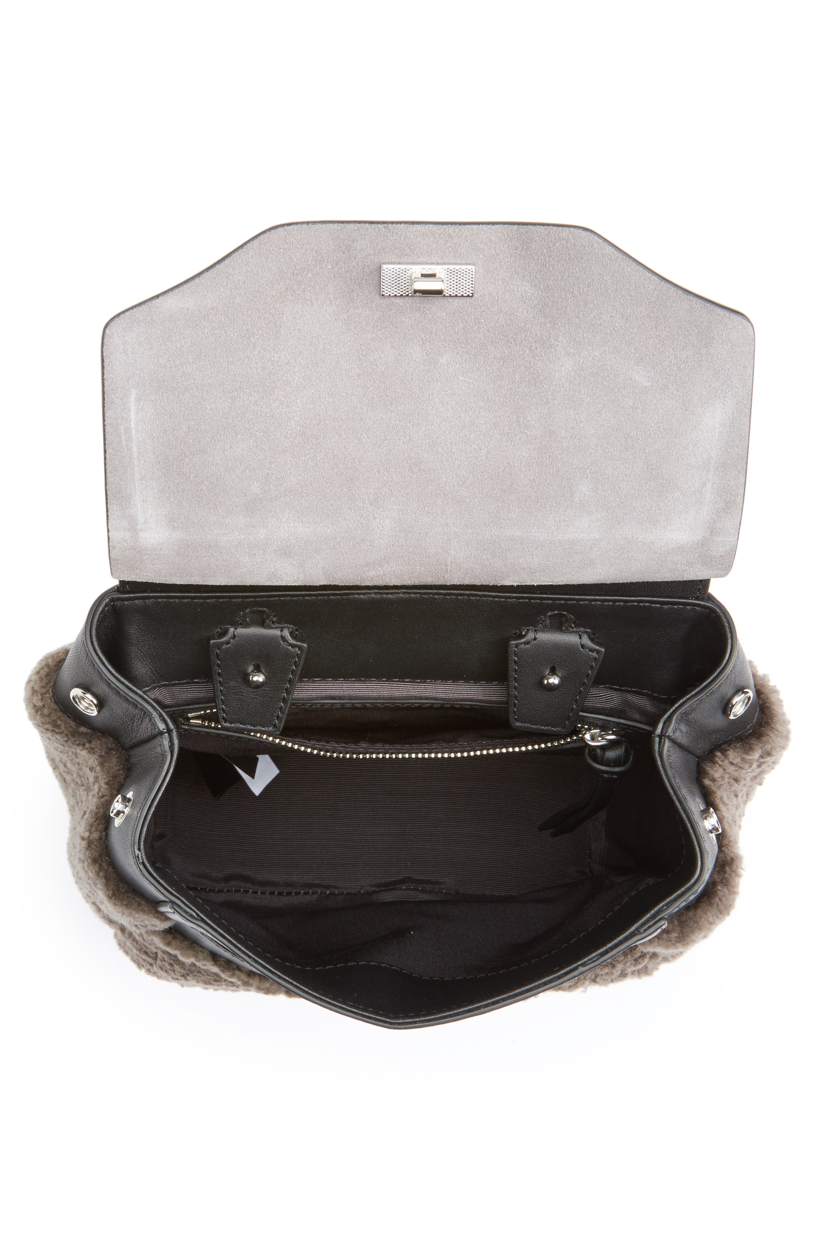 Small Pilot Leather & Genuine Shearling Backpack,                             Alternate thumbnail 4, color,                             020
