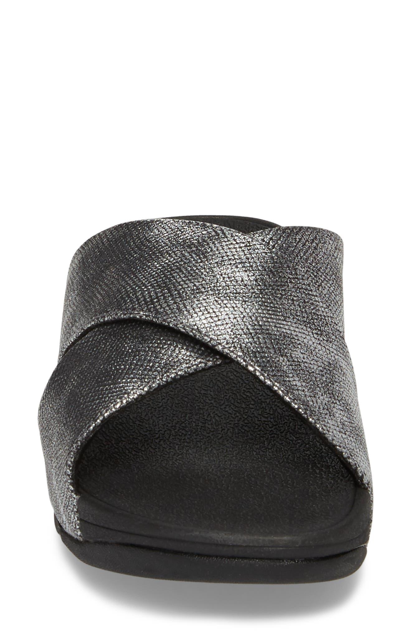 Lulu Cross Slide Sandal,                             Alternate thumbnail 4, color,                             BLACK SHIMMER PRINT