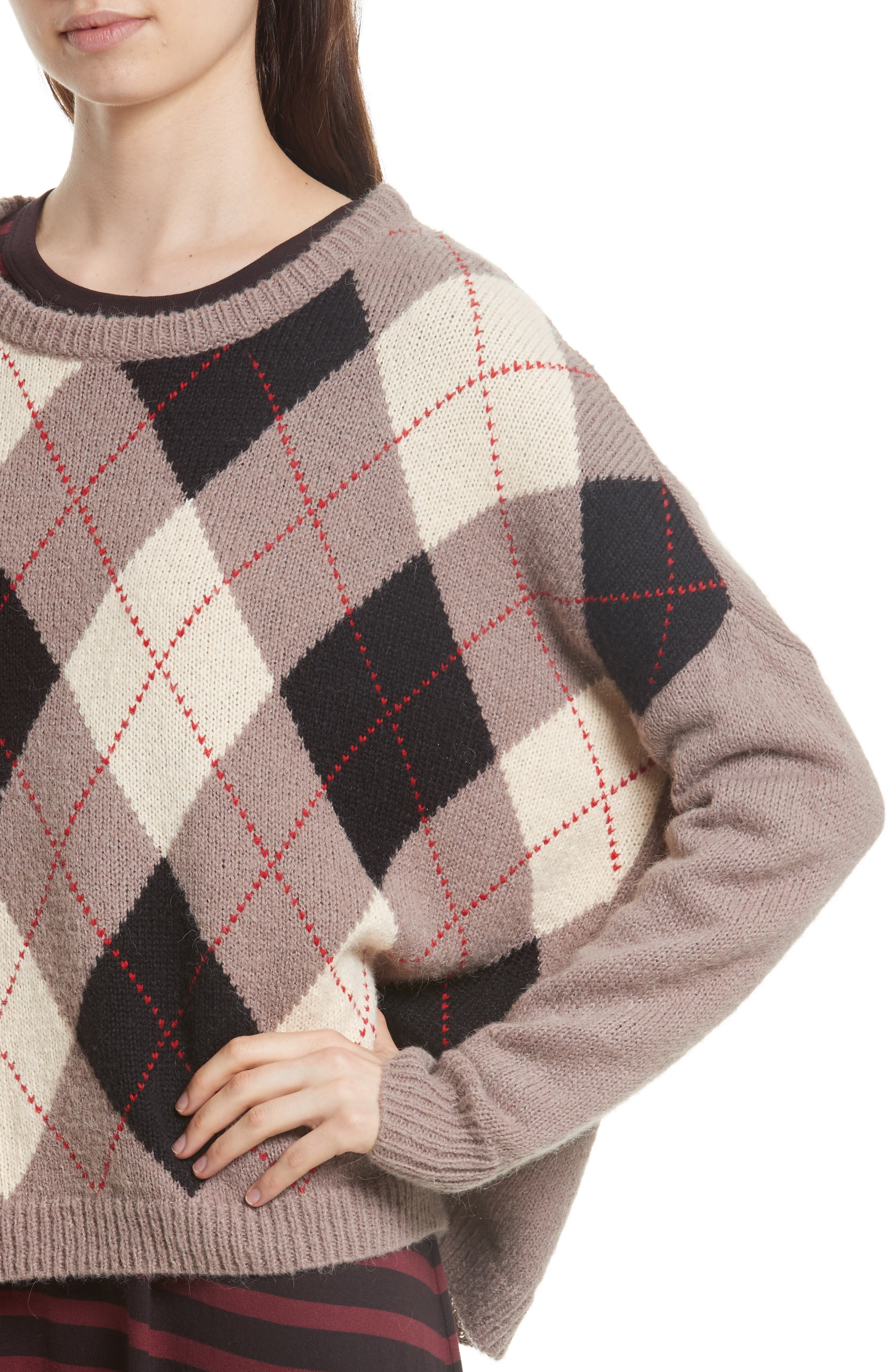 The Argyle Crew Sweater,                             Alternate thumbnail 4, color,