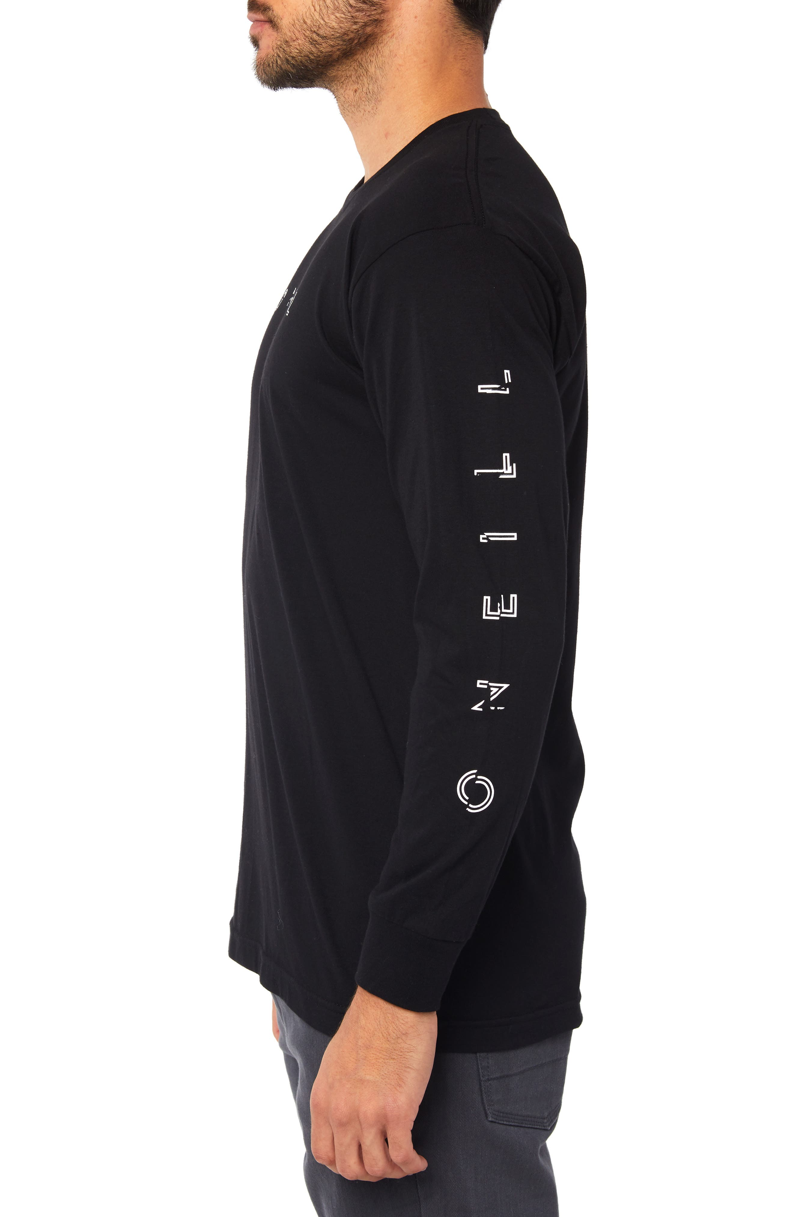 Spaced Out Graphic Long Sleeve T-Shirt,                             Alternate thumbnail 3, color,                             BLACK