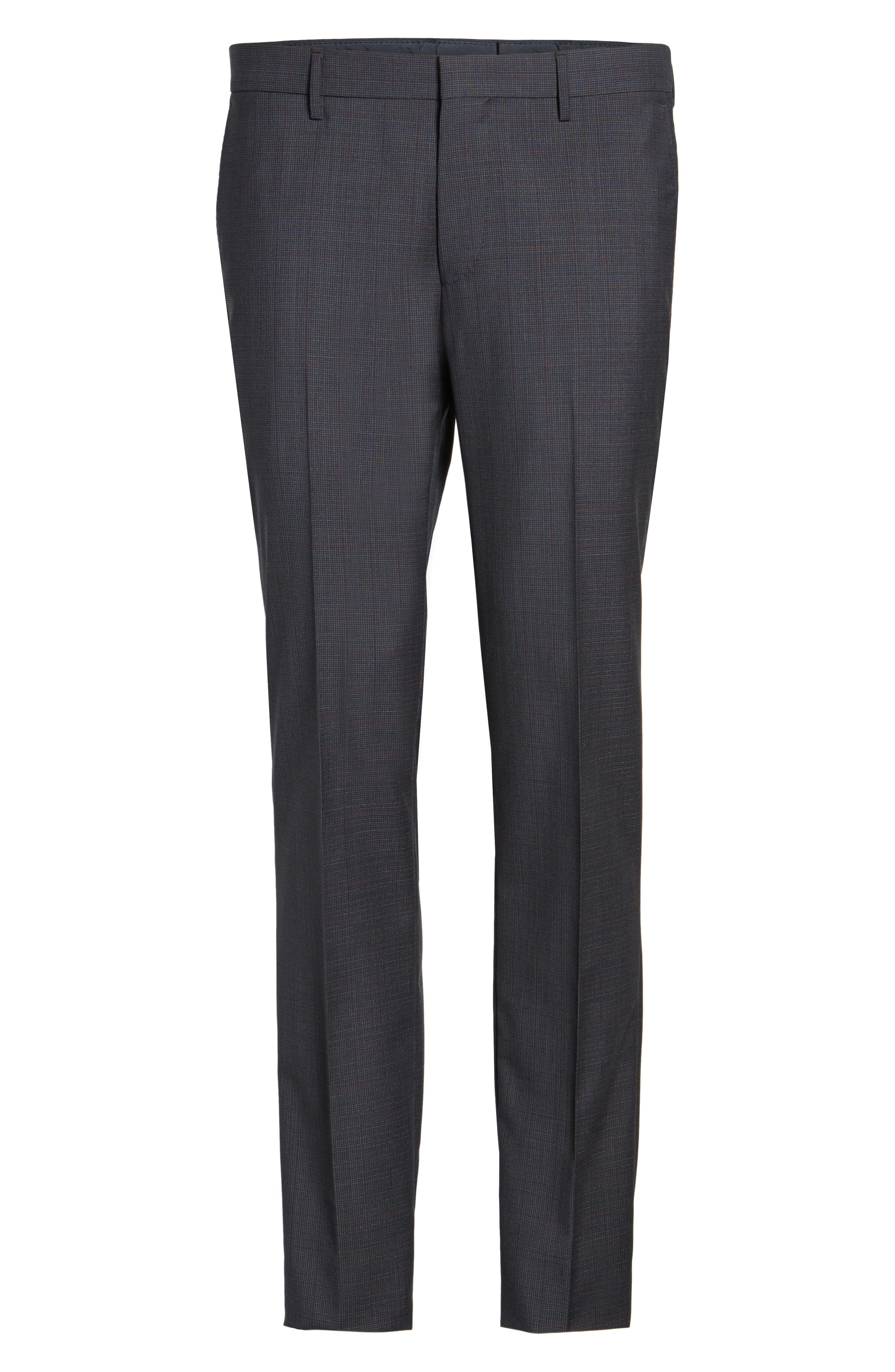 Benso Flat Front Houndstooth Wool Trousers,                             Alternate thumbnail 6, color,                             410