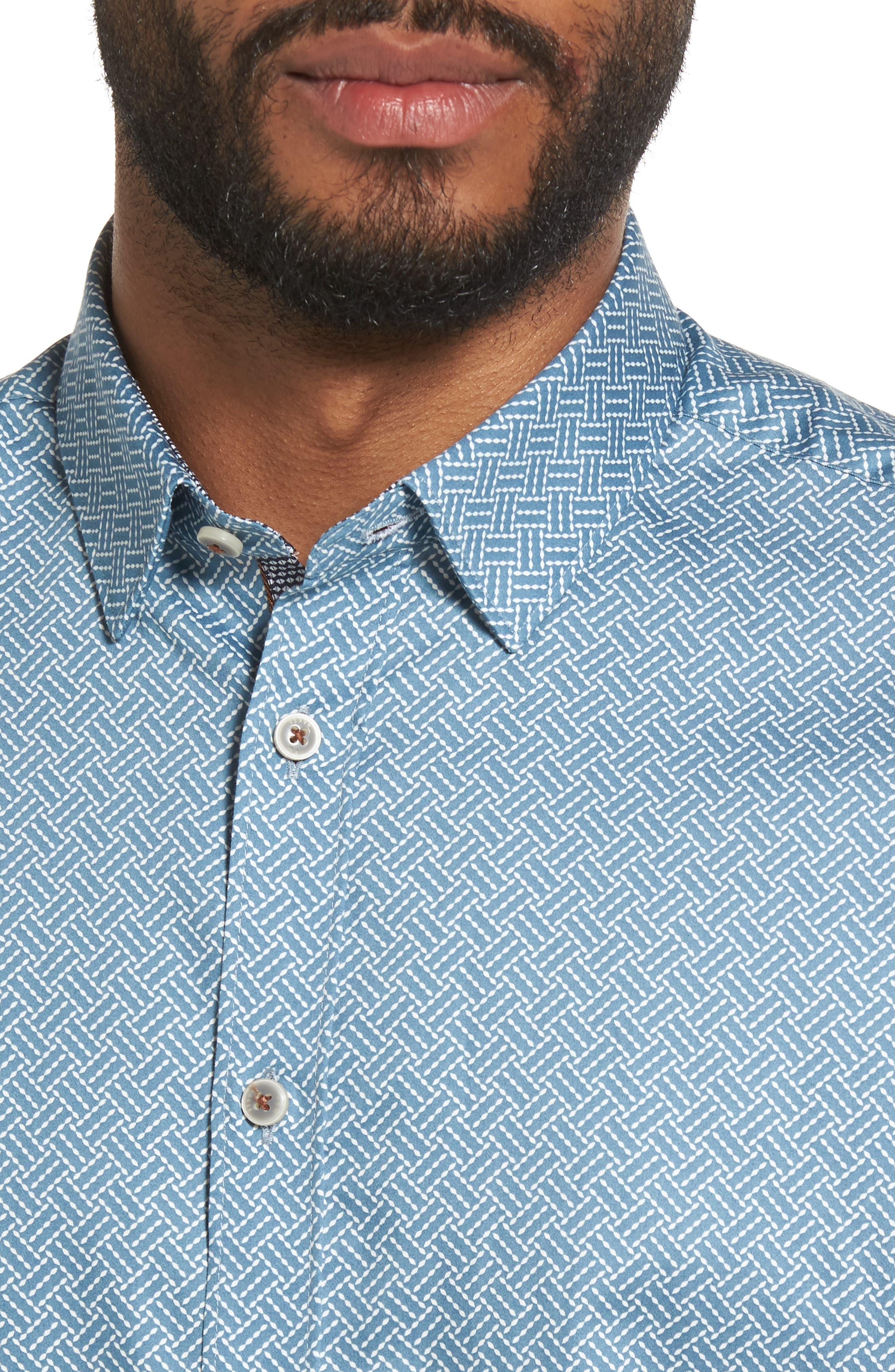 Lashore Basketweave Print Woven Shirt,                             Alternate thumbnail 4, color,                             421