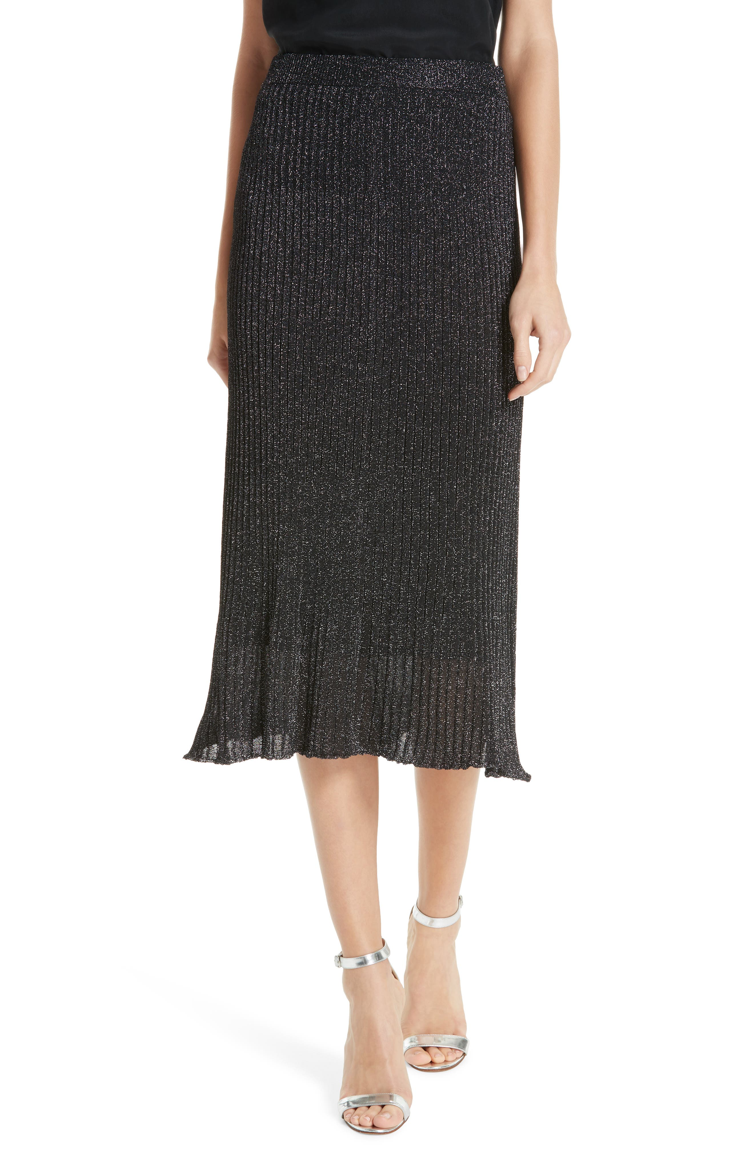 Othello Metallic Ribbed Skirt,                             Main thumbnail 1, color,                             BLACK