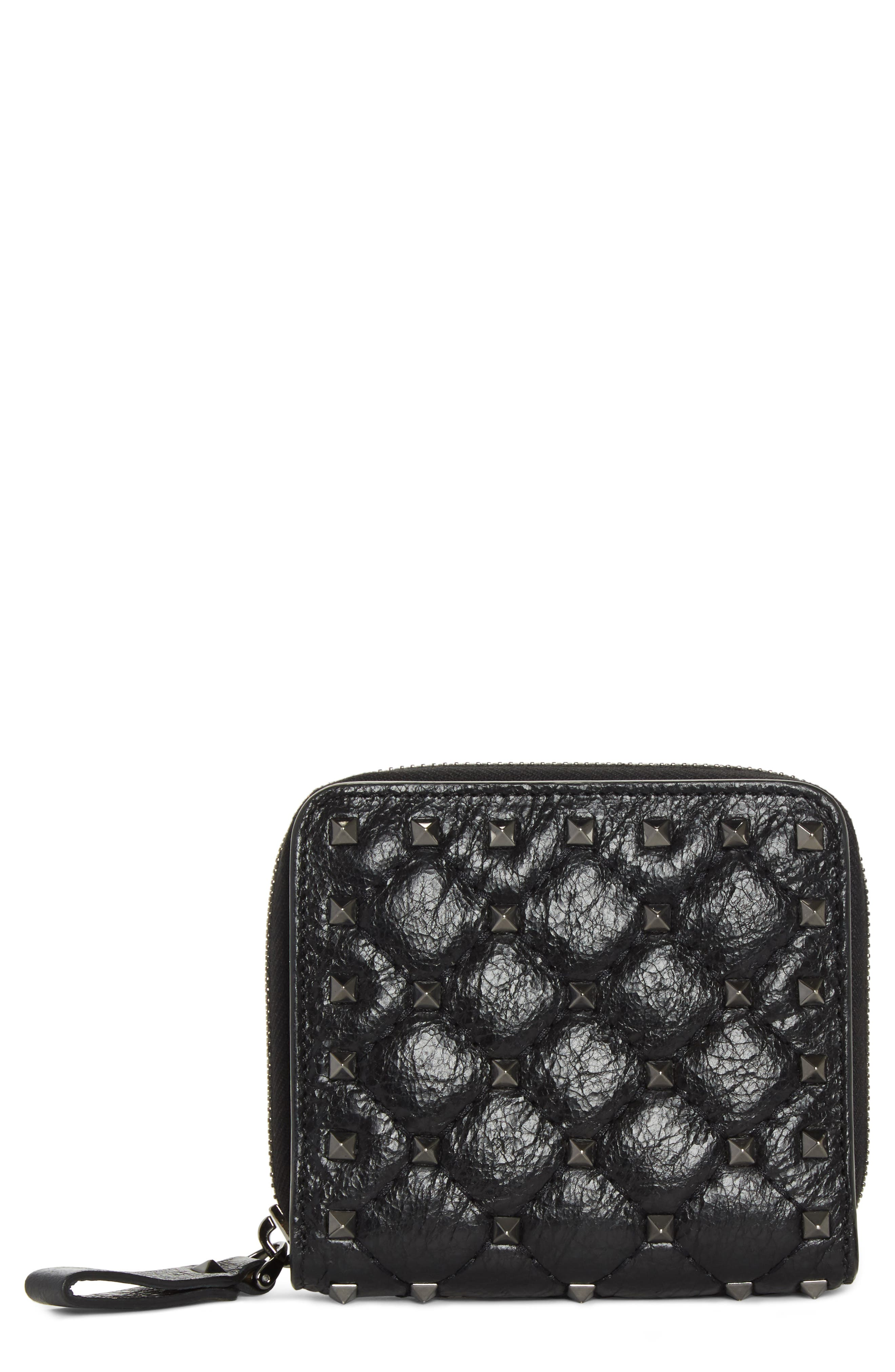 Rockstud Leather French Wallet,                         Main,                         color, BLACK