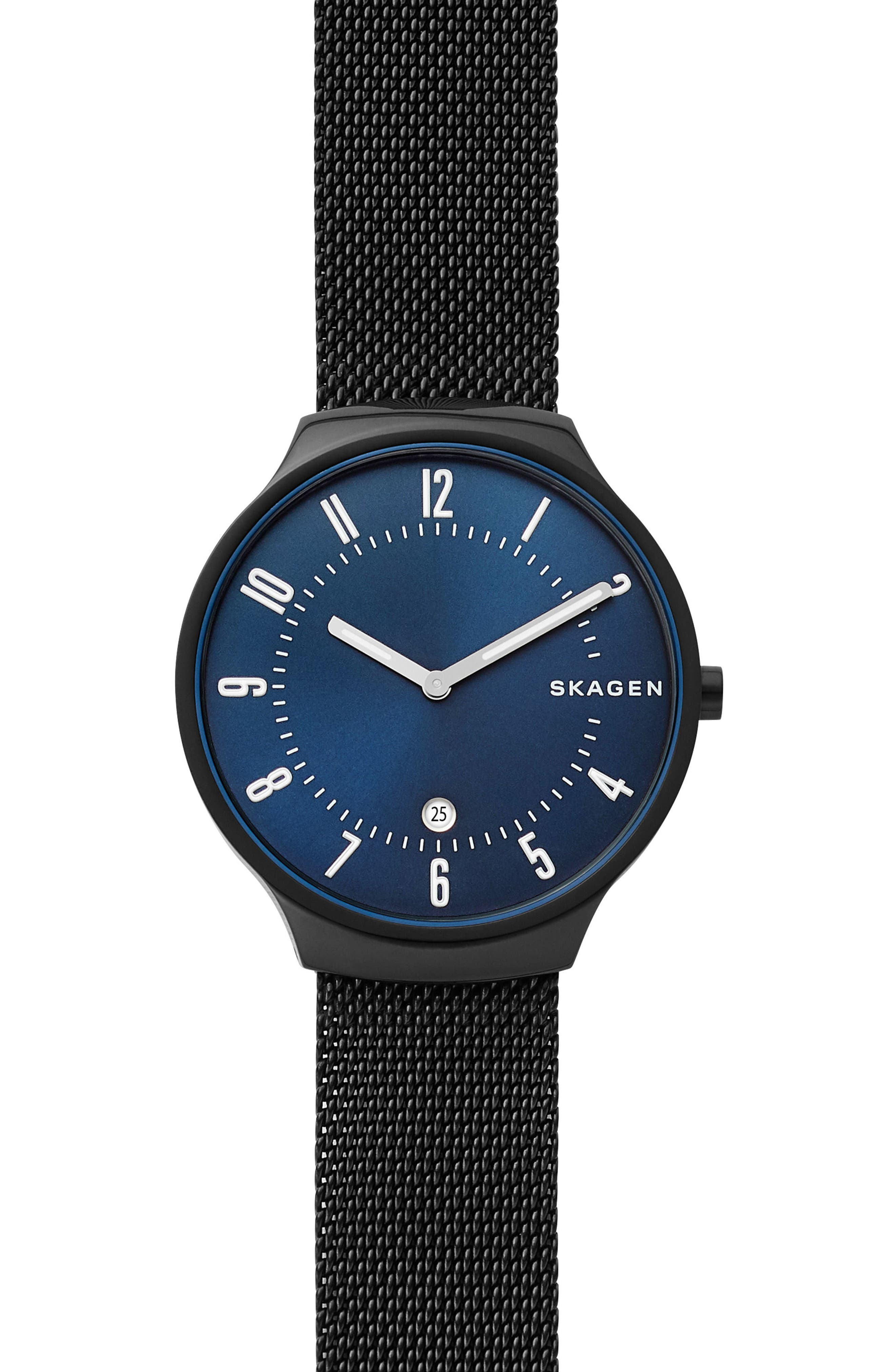 Grenen Mesh Strap Watch, 38mm,                             Main thumbnail 1, color,                             BLACK/ BLUE/ BLACK