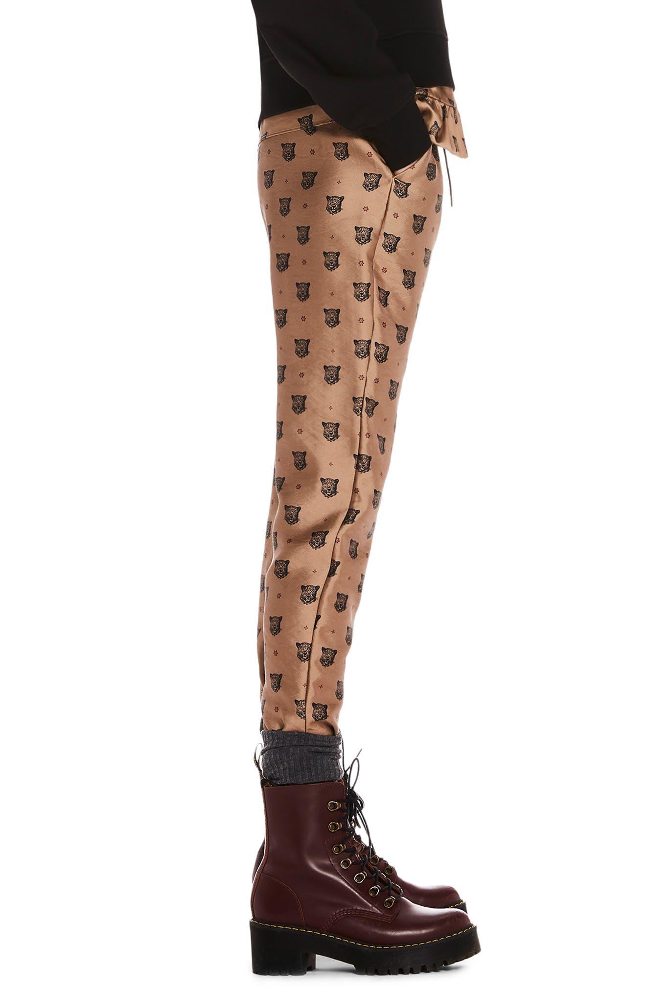 Tailored Leopard Pants,                             Alternate thumbnail 3, color,                             GOLD W/ LEOPARD PRINT