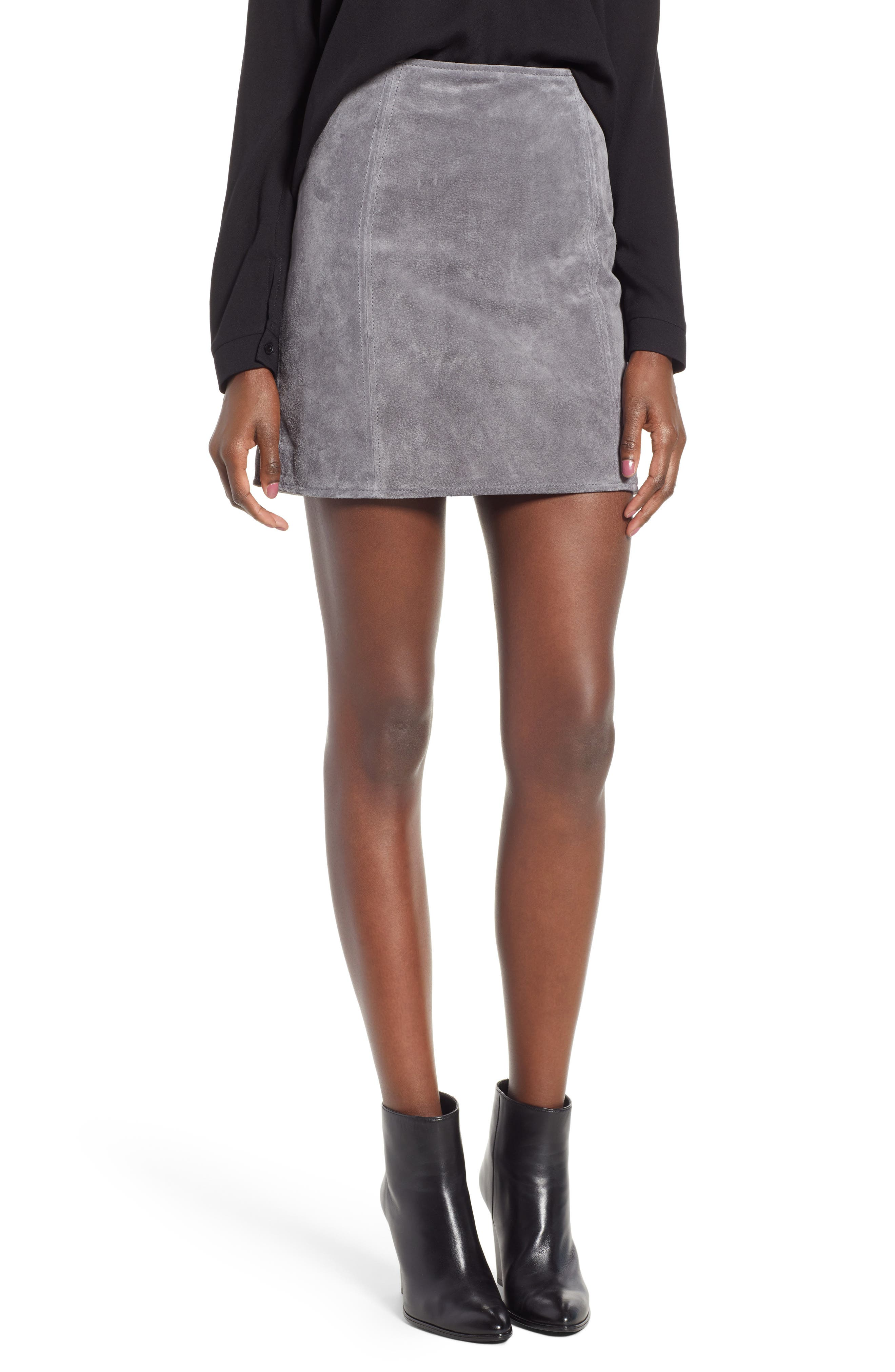 A-Line Suede Skirt,                             Main thumbnail 1, color,                             SILVER SCREEN