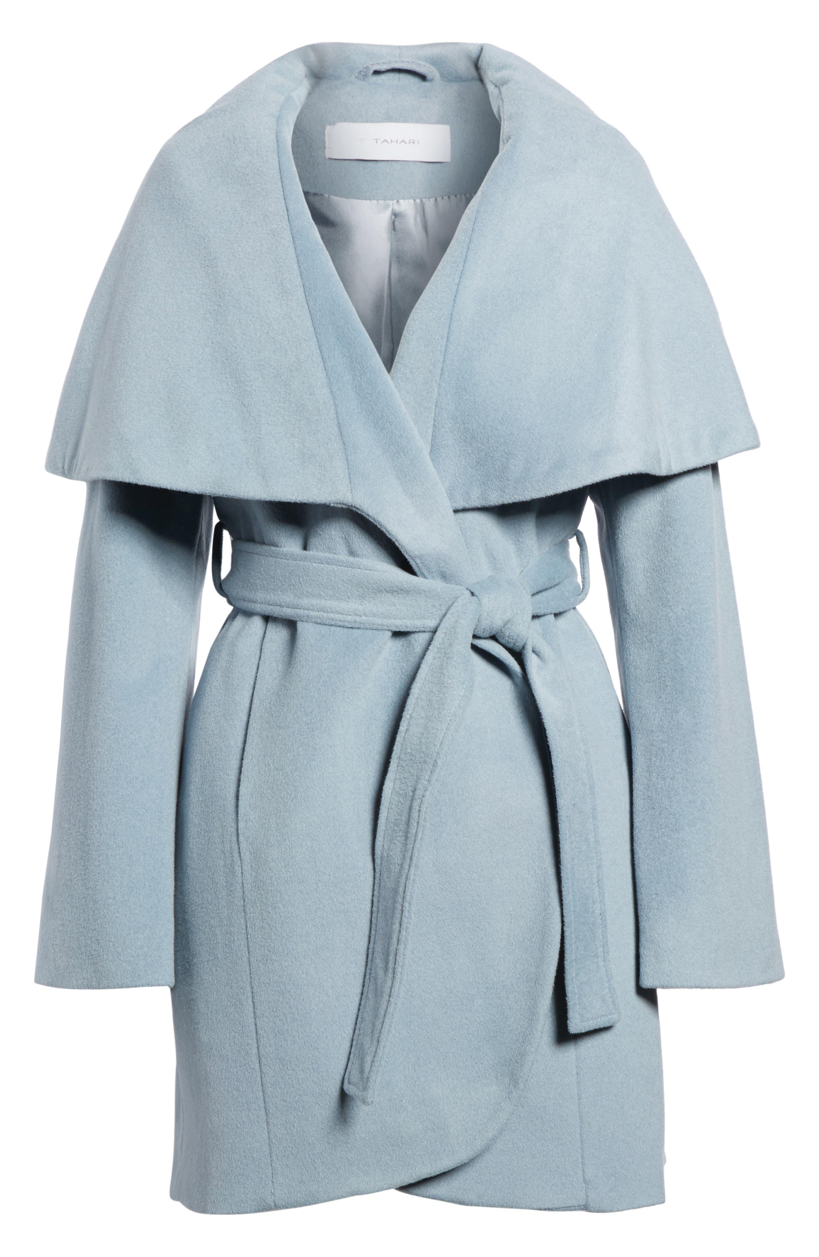 T Tahari Wool Blend Belted Wrap Coat,                             Alternate thumbnail 18, color,