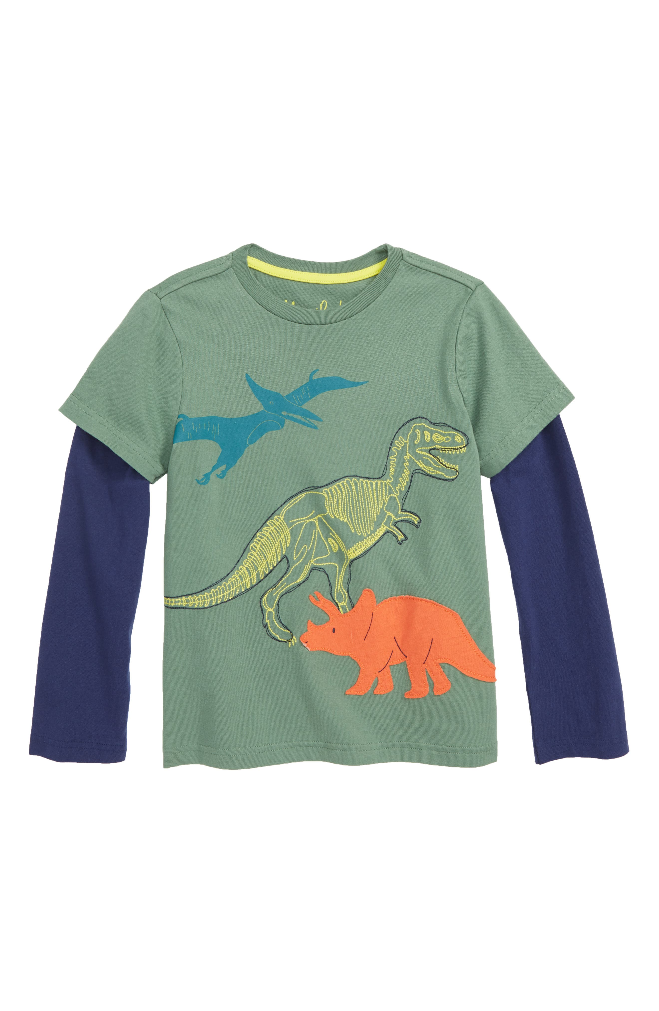 Textured Dinos Layered T-Shirt, Main, color, ROSEMARY GREEN