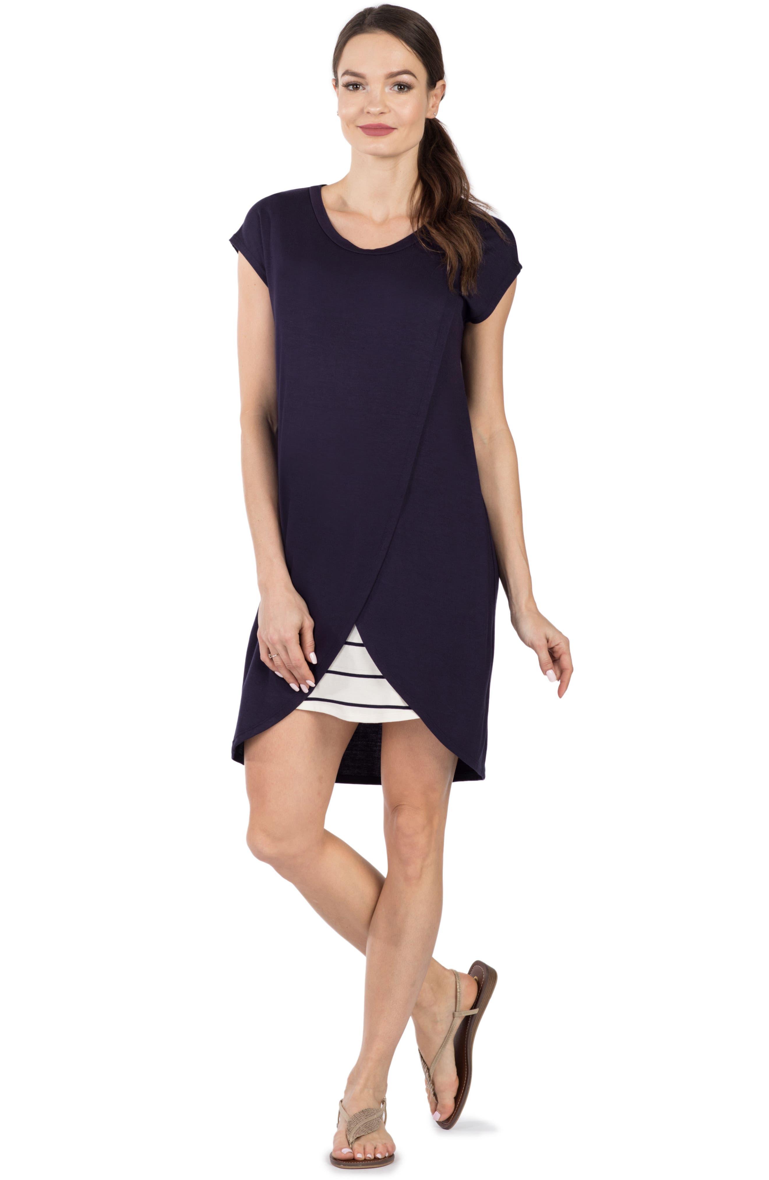 Lille Layered Maternity/Nursing Sheath Dress,                             Alternate thumbnail 4, color,                             NAVY/ WHITE STRIPE
