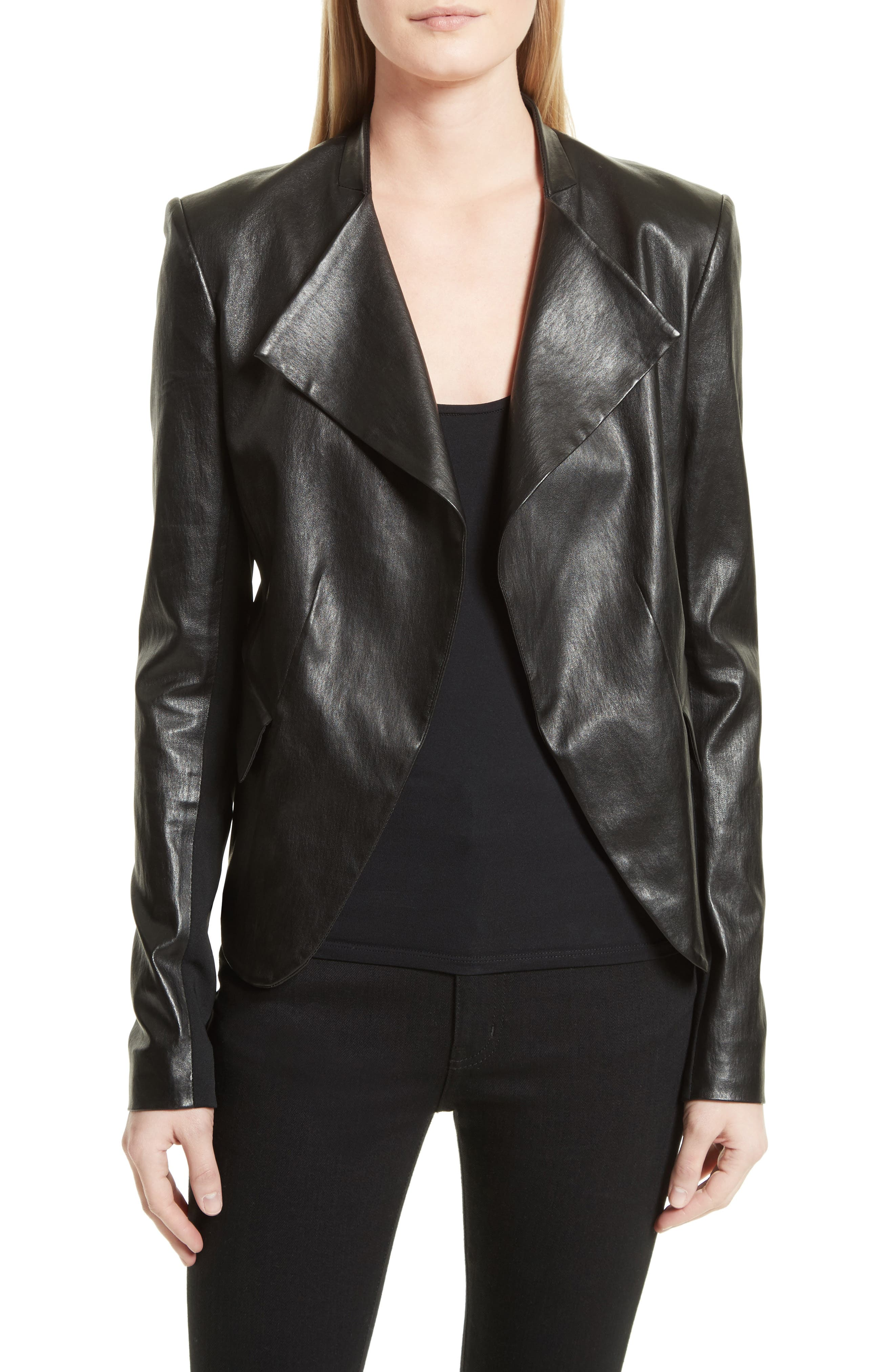 Bristol Peplum Leather Jacket,                             Main thumbnail 1, color,                             001