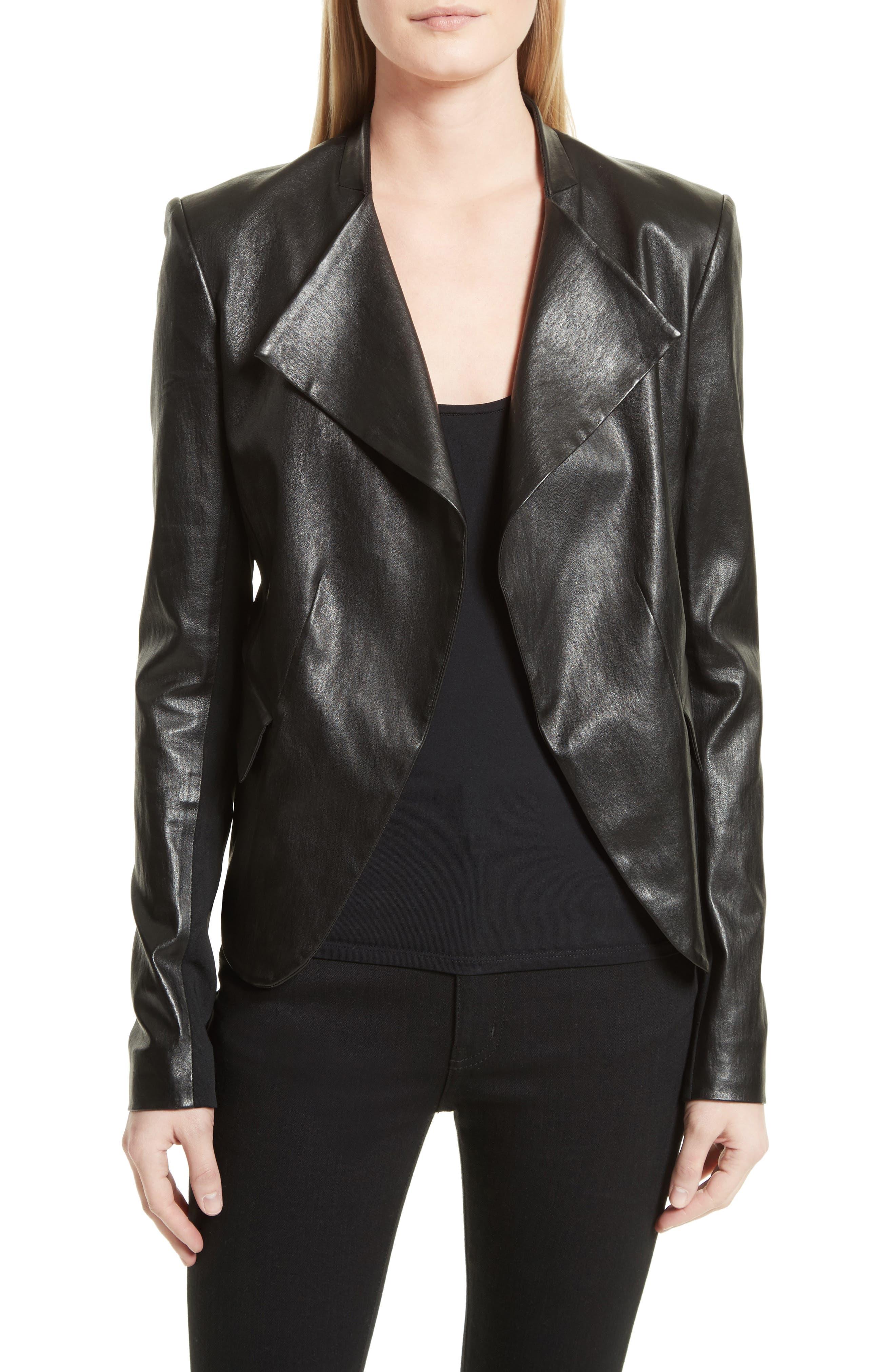 Bristol Peplum Leather Jacket,                         Main,                         color, 001