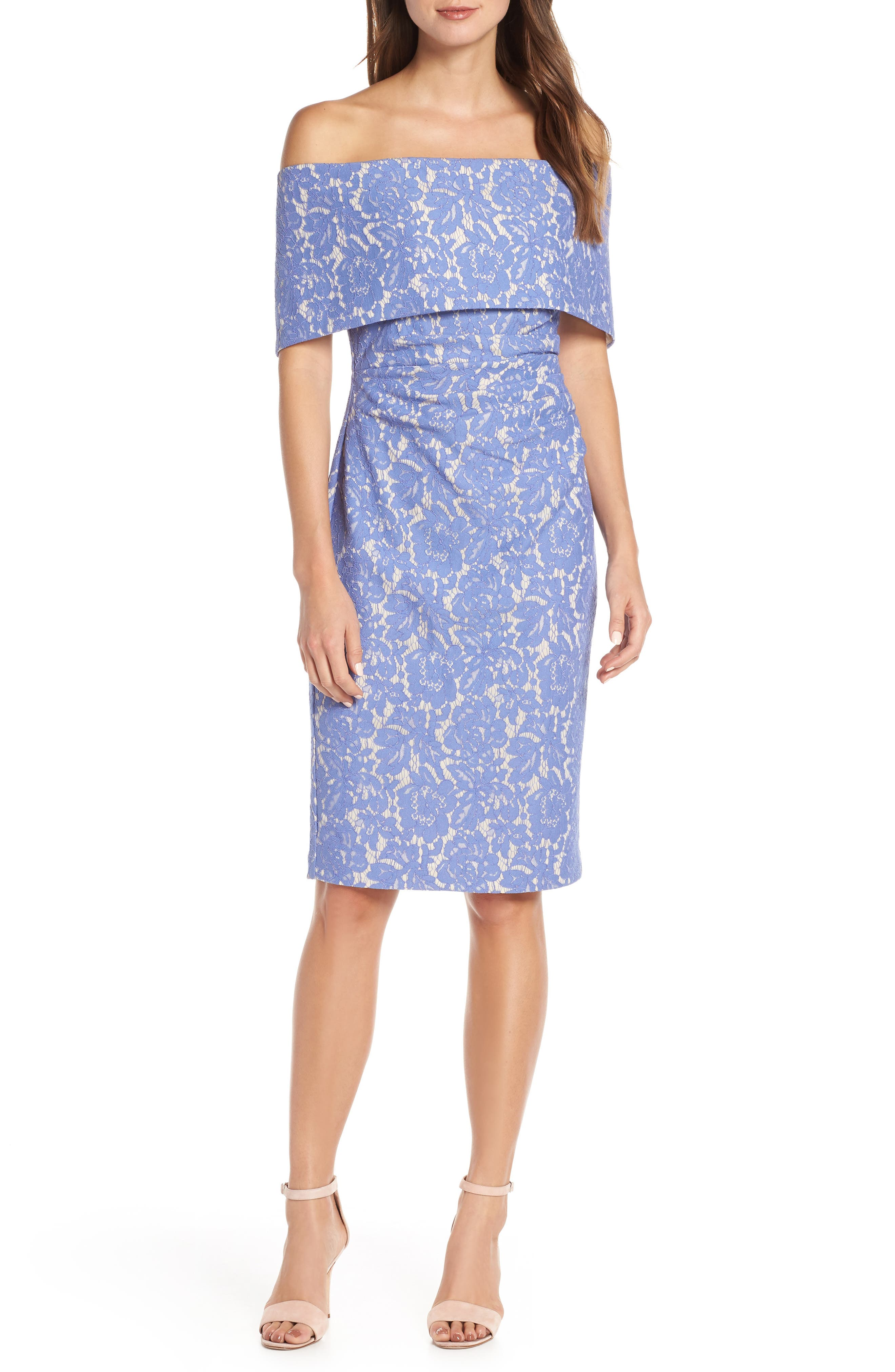 VINCE CAMUTO,                             Off the Shoulder Lace Sheath Dress,                             Main thumbnail 1, color,                             PERIWINKLE