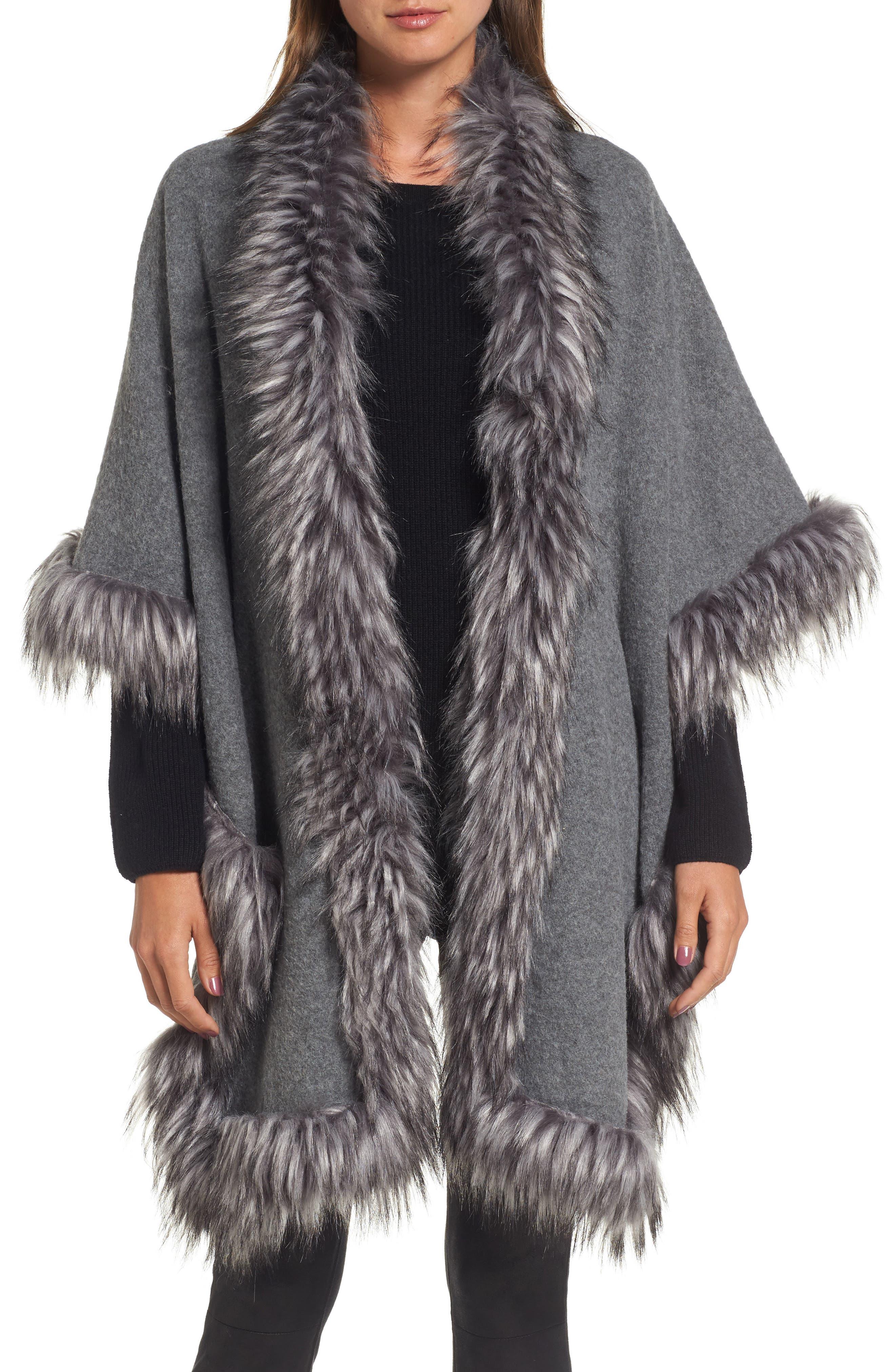 Knit Poncho with Faux Fur Trim,                         Main,                         color, 030